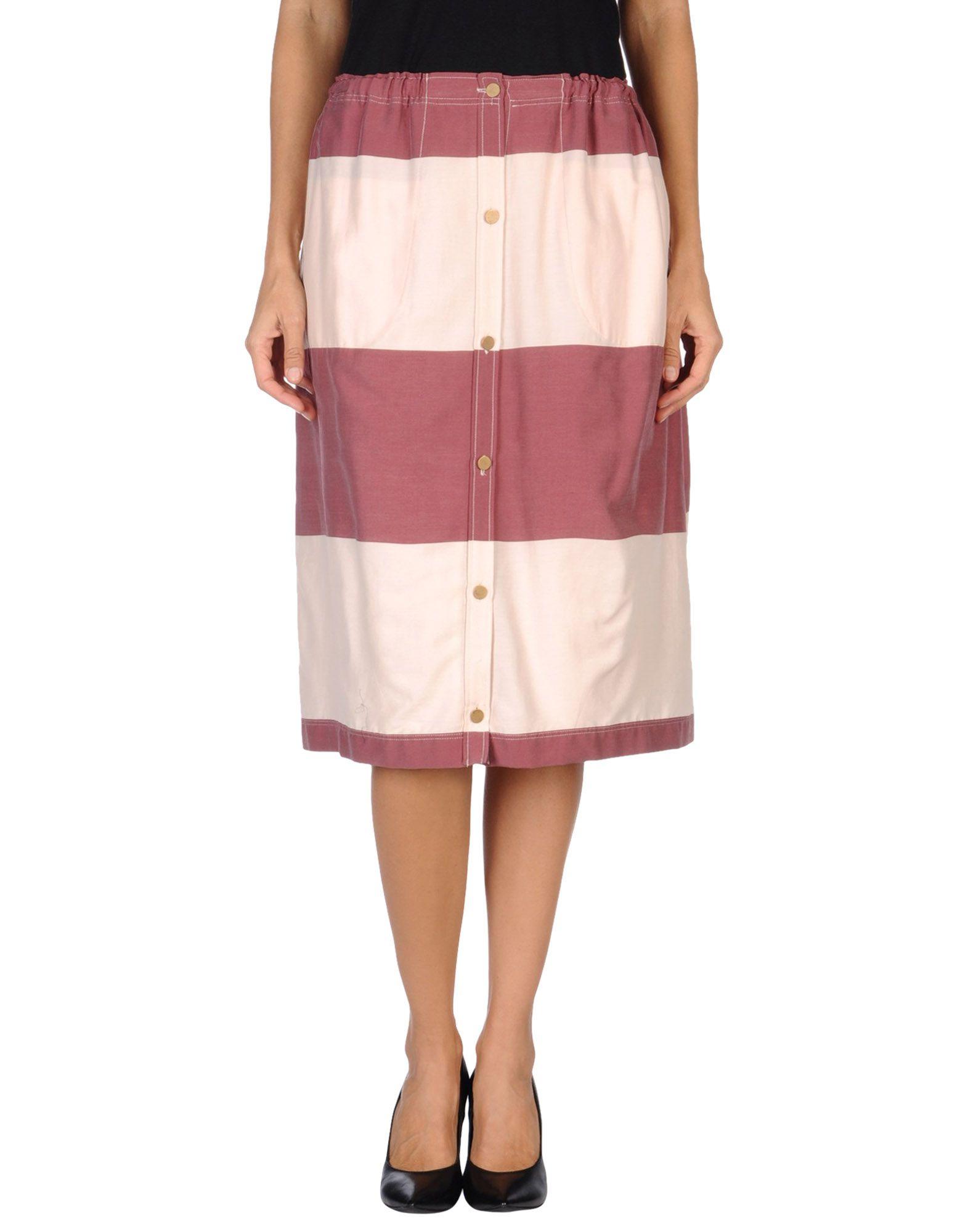 m grifoni denim knee length skirt in white maroon lyst
