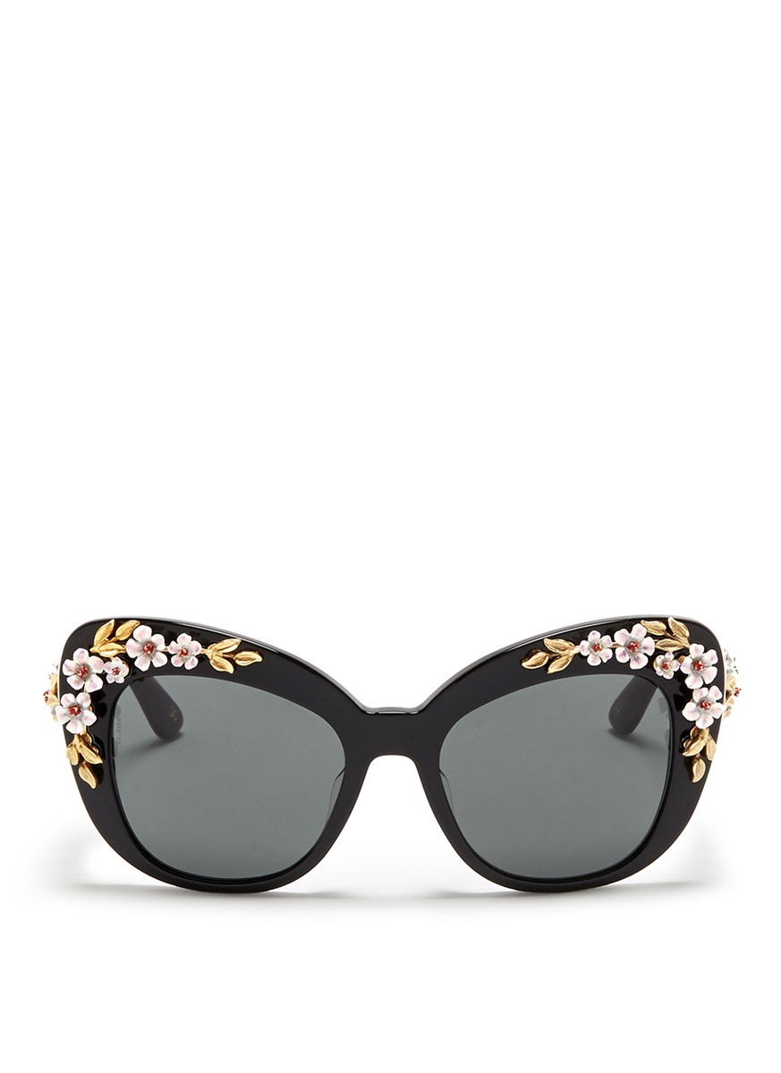 99232e49abb Lyst - Dolce   Gabbana Floral Appliqué Acetate Cat Eye Sunglasses in Black