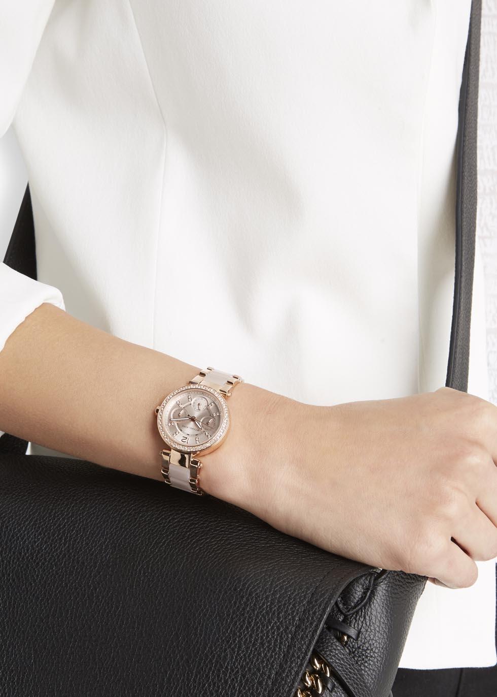 fbb2f9d8d98d Michael Kors Mini Parker Rose Gold Tone Chronograph Watch In Pink Lyst. Michael  Kors Mk5896 Women S Parker Rose Gold Dial ...