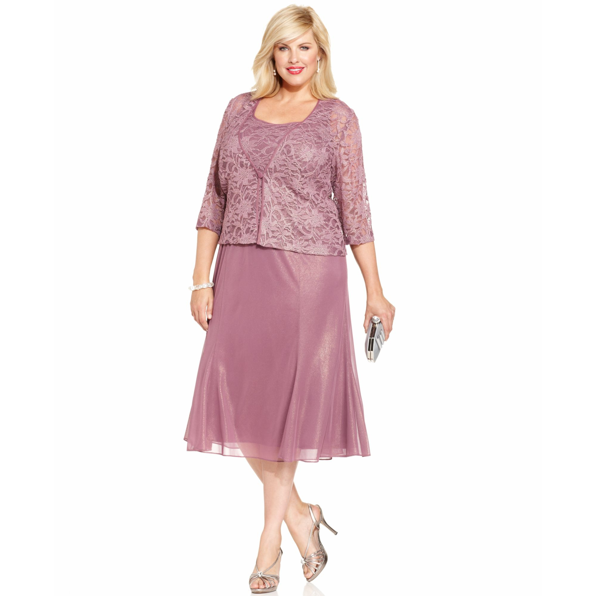 Lyst - Alex Evenings Plus Size Shimmer Lace Dress and Jacket in Pink