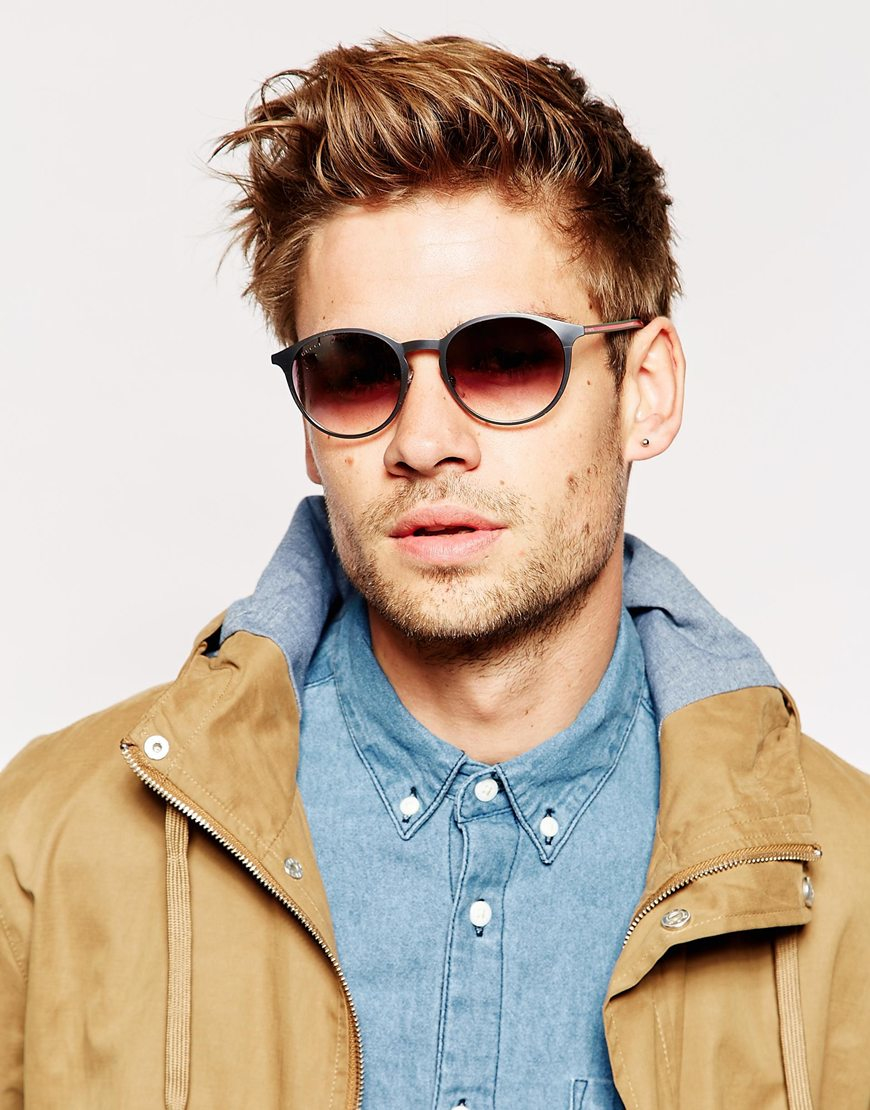 Men Round Sunglasses  gucci round sunglasses in metallic for men lyst