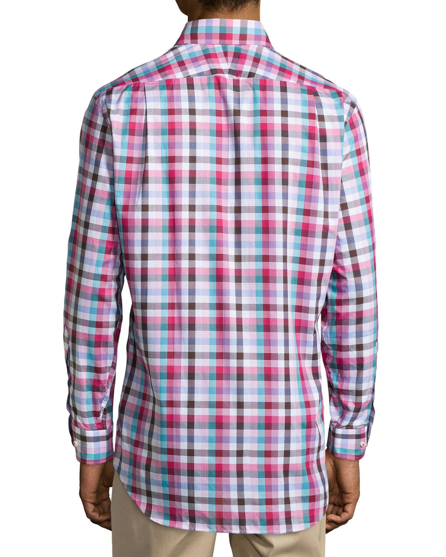 Peter Millar Check Woven Sport Shirt In Pink For Men Pink