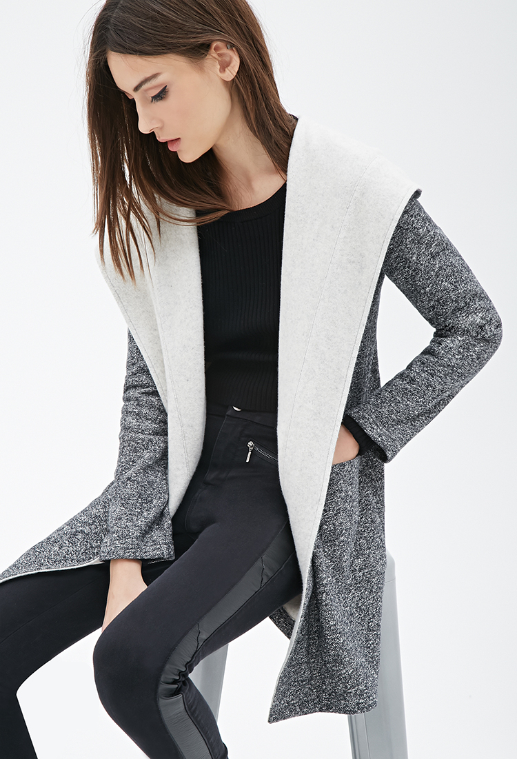 Forever 21 Marled Knit Hooded Cardigan in Gray | Lyst
