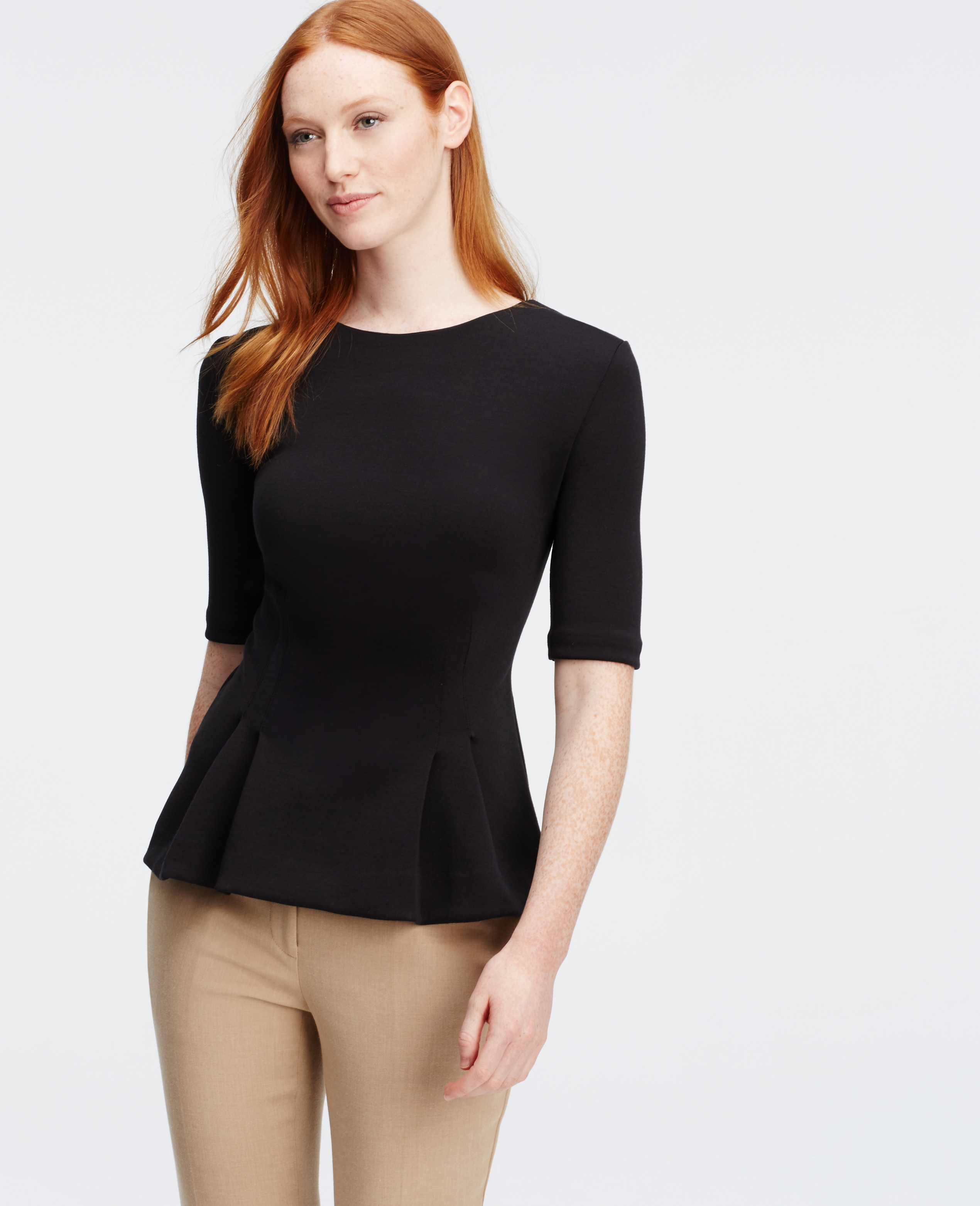 Ann taylor Petite Structured Peplum Short Sleeve Top in Black | Lyst