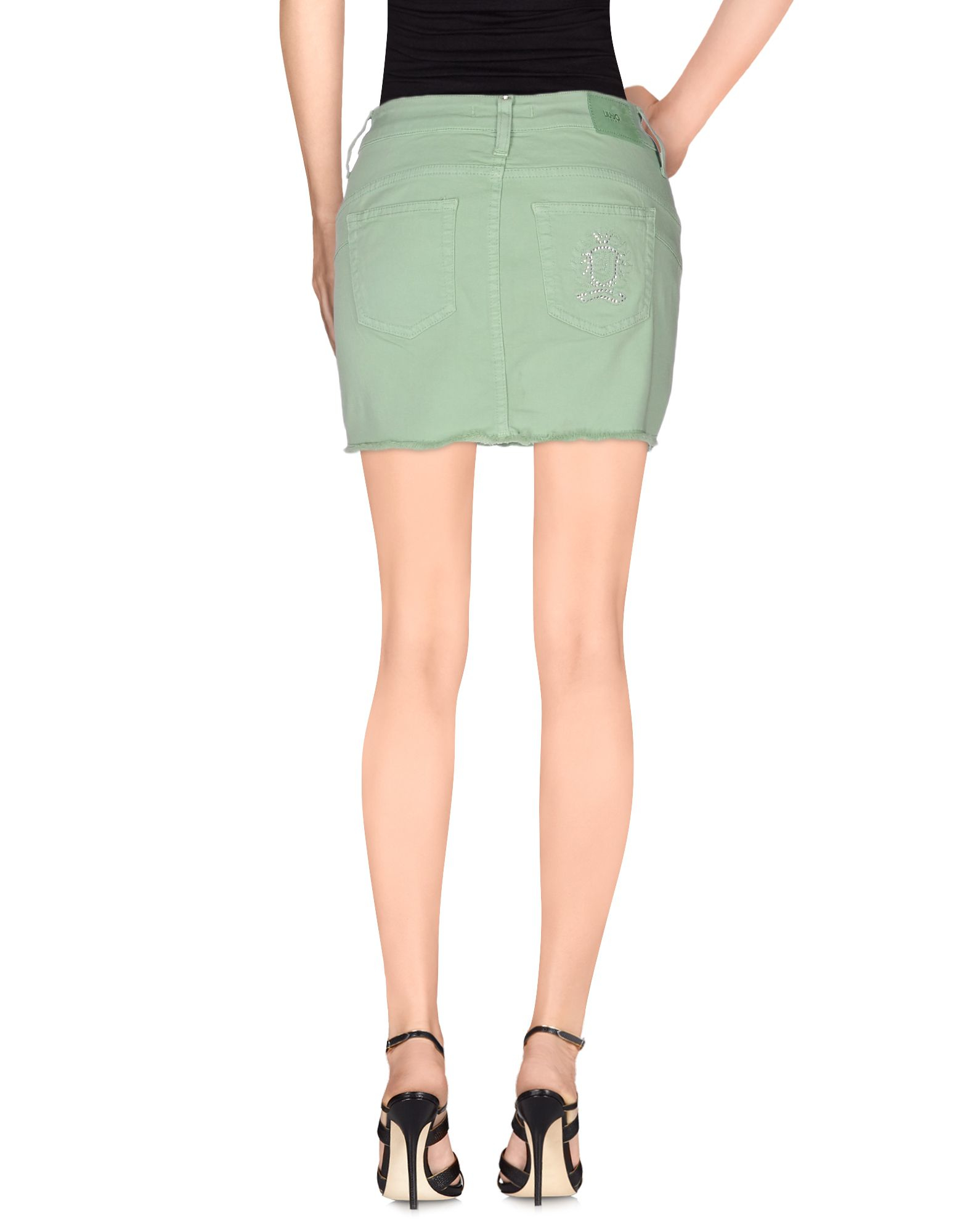 liu jo denim skirt in green light green lyst