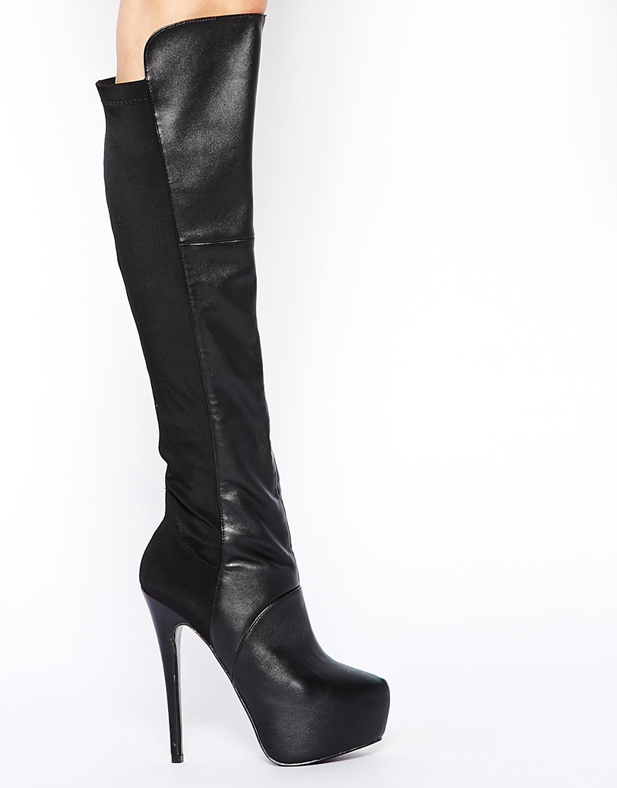 087d4f095cc Steve Madden Highting Black Leather Platform Knee Boots