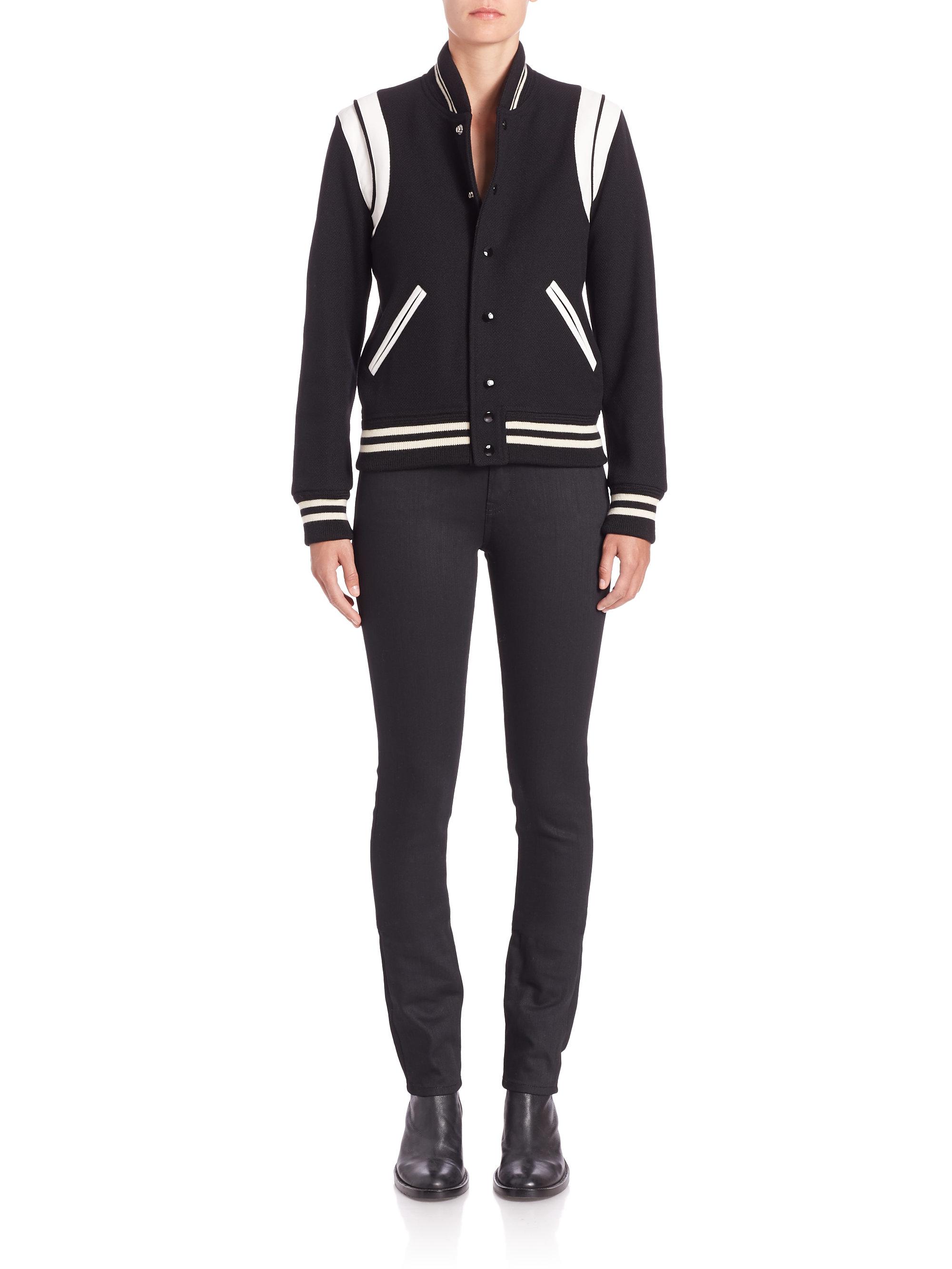 c37e6c07 Saint Laurent Black Teddy Leather-Trimmed Wool Varsity Jacket