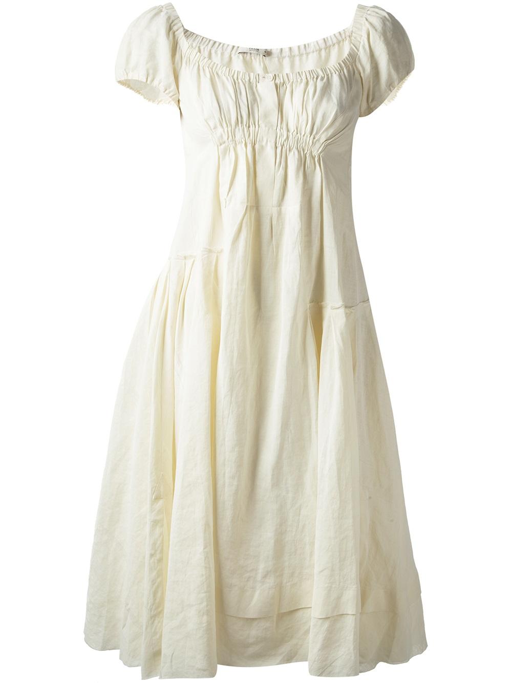 Lyst - Prada Off The Shoulder Dress in White dc54e75021