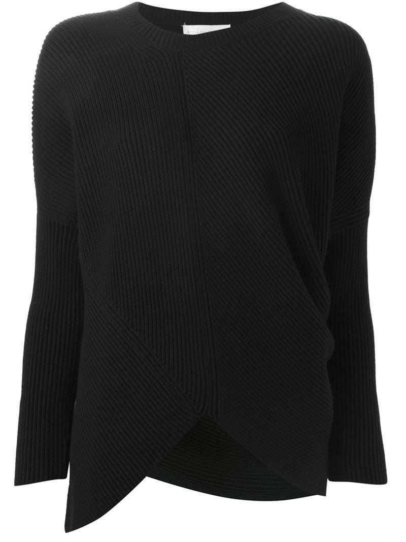 533cb168d51 Lyst - Stella Mccartney Ribbed Asymmetric Sweater in Black