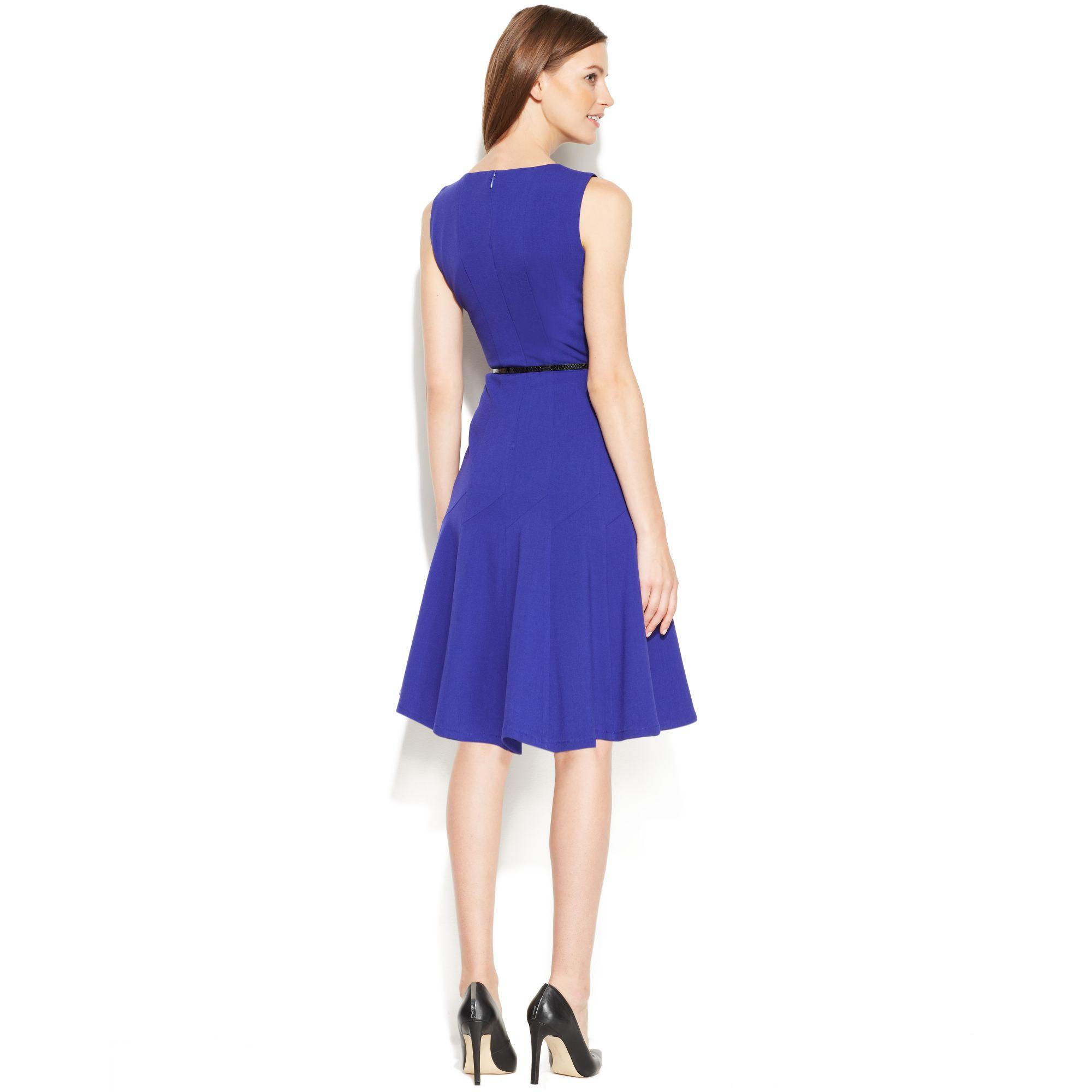 Calvin Klein Sleeveless Belted Flared Dress In Blue Lyst