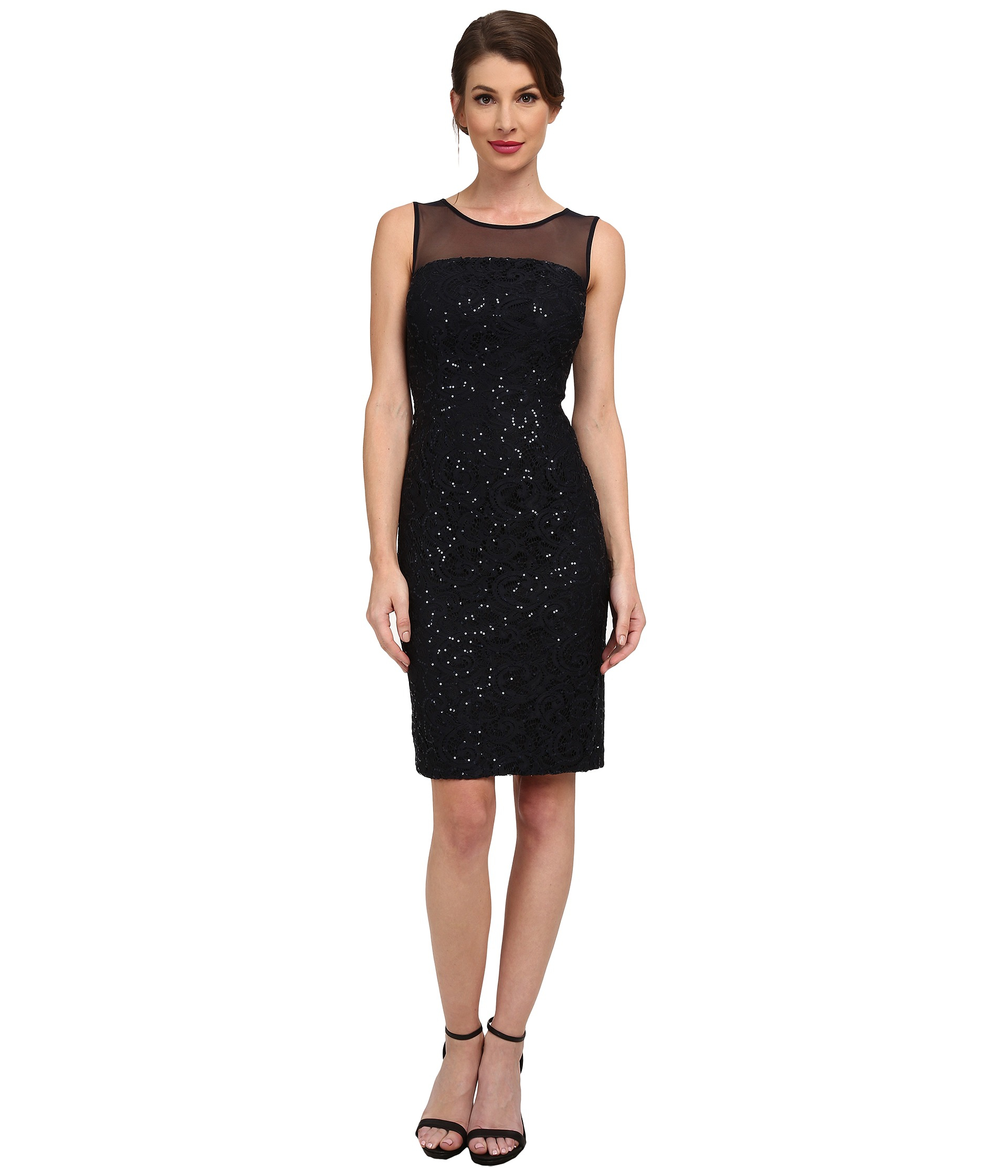 Calvin Klein Sequin Dress With Illusion Yoke In Navy Blue