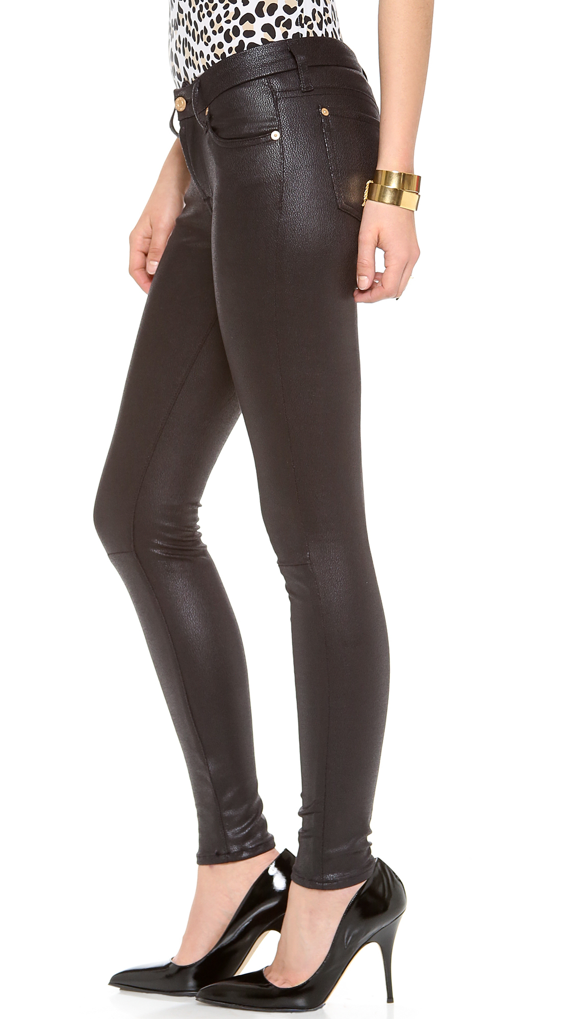 7 for all mankind Faux Crackle Leather Skinny Pants in ...