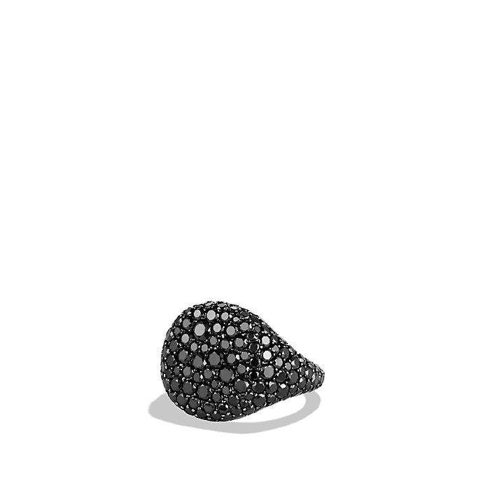 David yurman Pavé Pinky Ring With Black Diamonds In 18k White Gold in Black