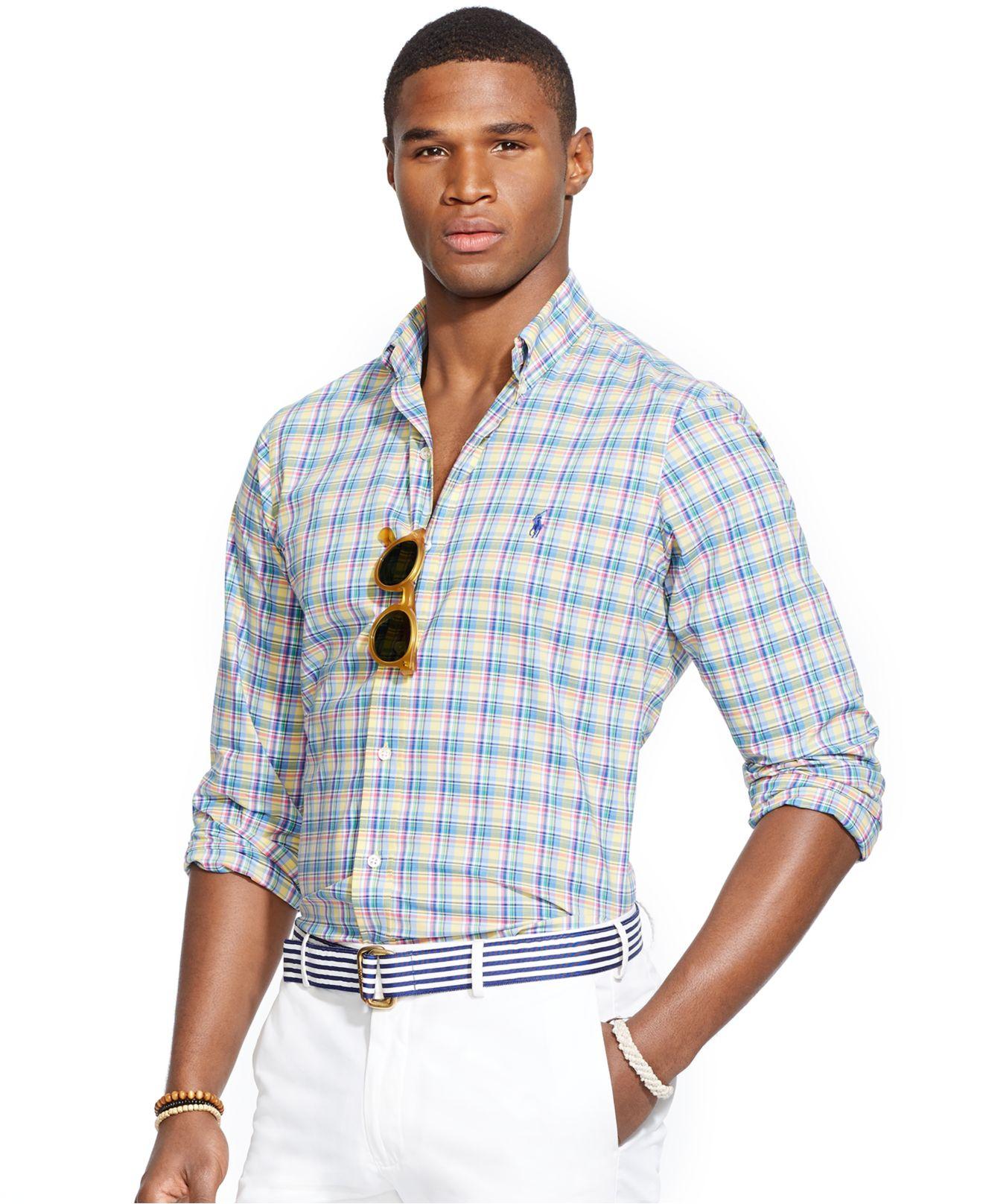Lyst polo ralph lauren plaid poplin shirt in blue for men for Blue and yellow plaid dress shirt