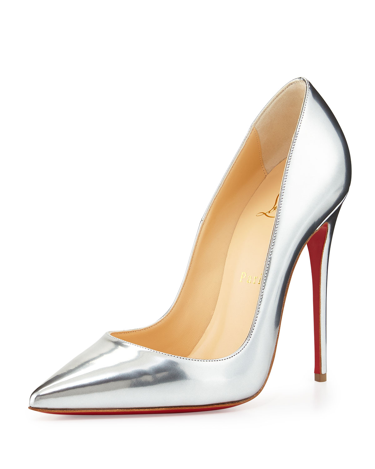 chris louboutin shoes - Christian louboutin So Kate Metallic Leather Pumps in Silver | Lyst