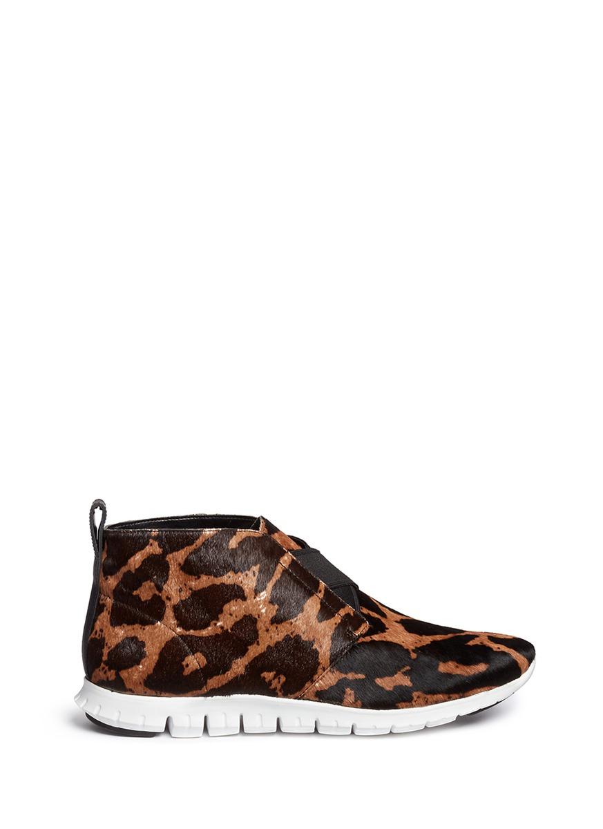 Cole Haan Zerogrand Chukka' Suede High-top Sneakers in Brown,Animal Print (Brown)