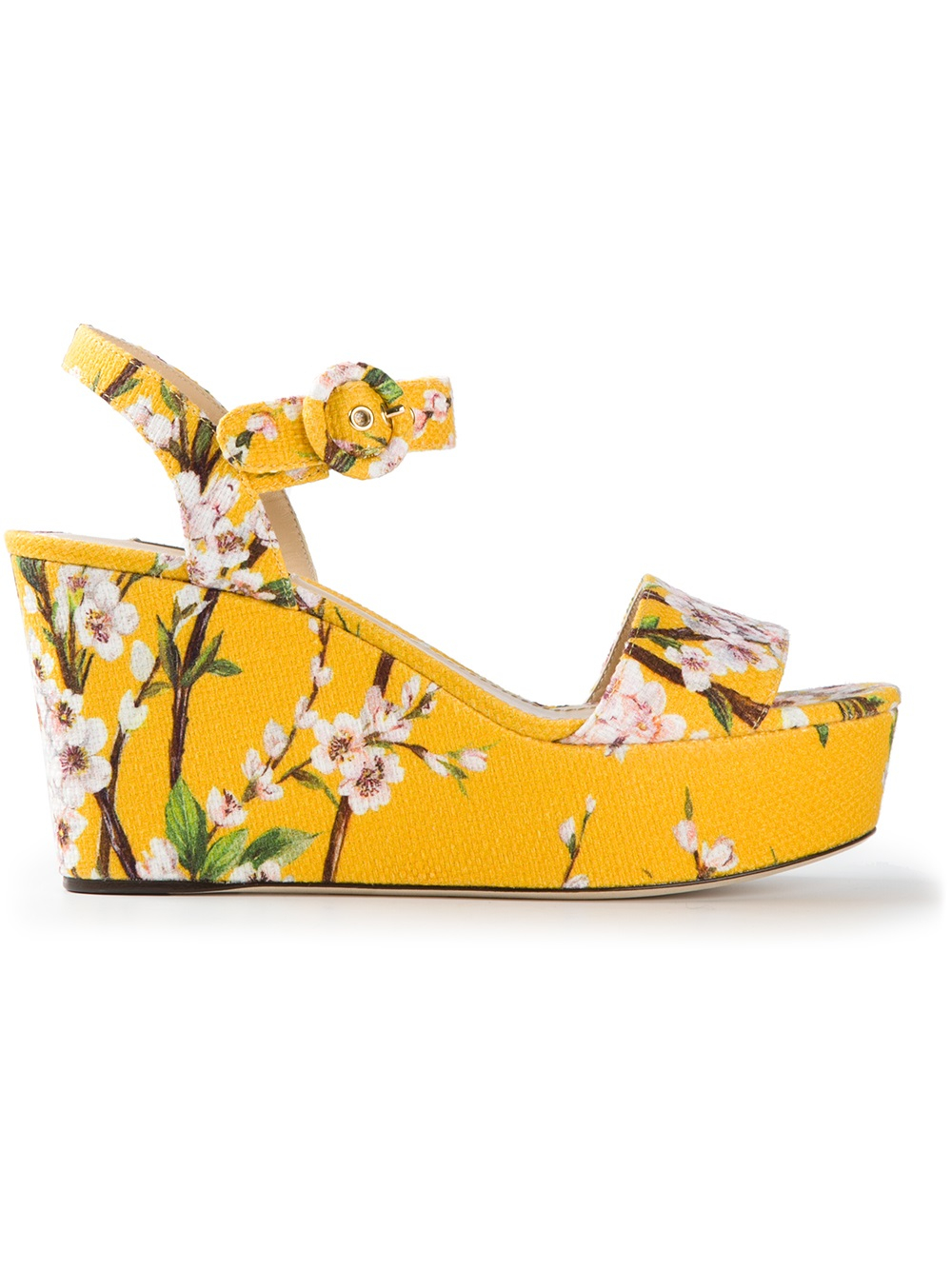 Dolce Amp Gabbana Floral Print Wedge Sandal In Yellow Lyst