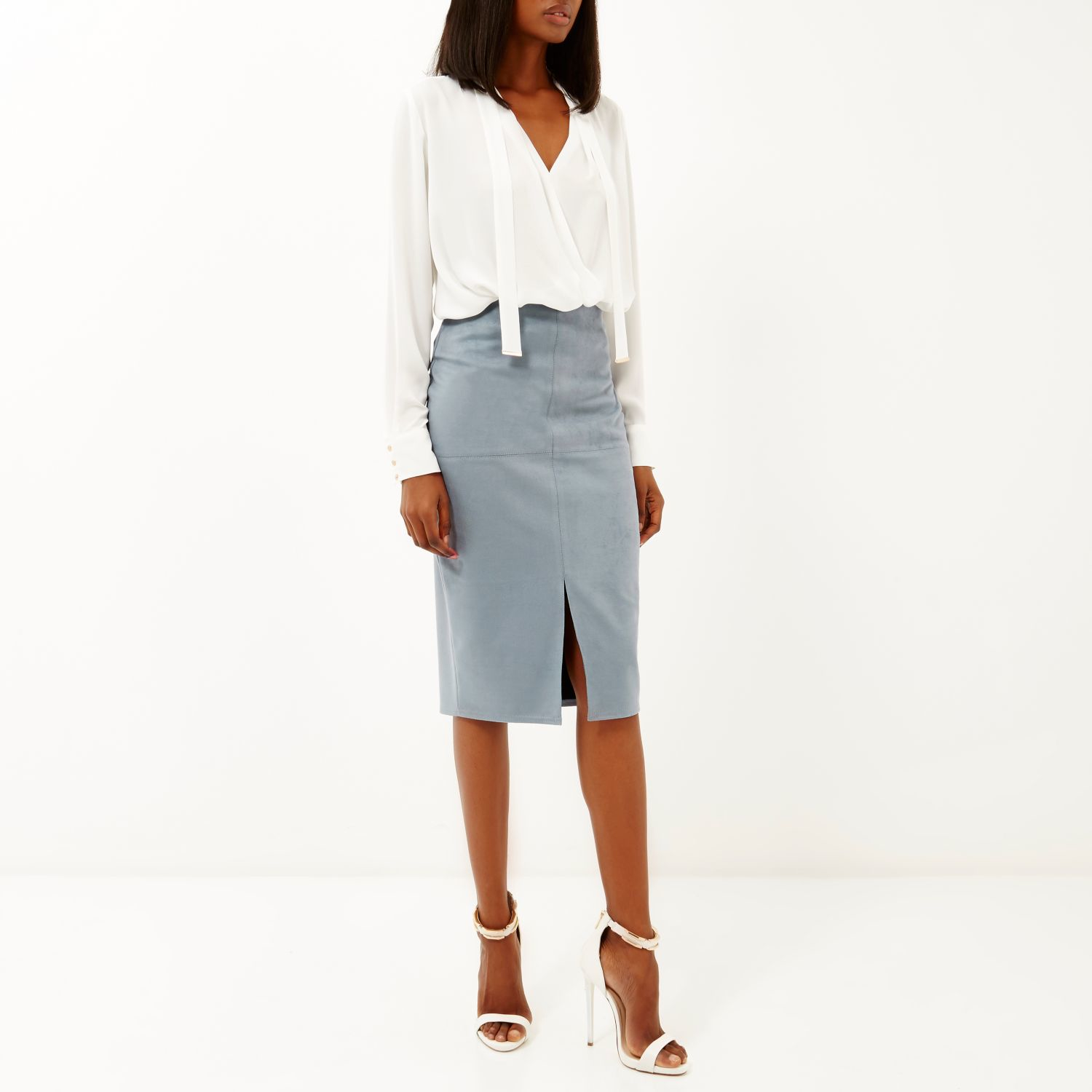 Suede Pencil Skirt - Skirts