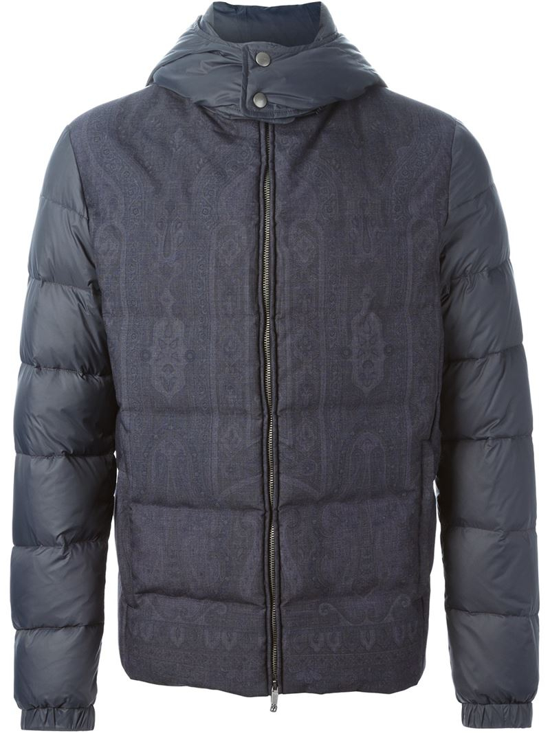 Etro Paisley Pattern Padded Jacket in Blue for Men