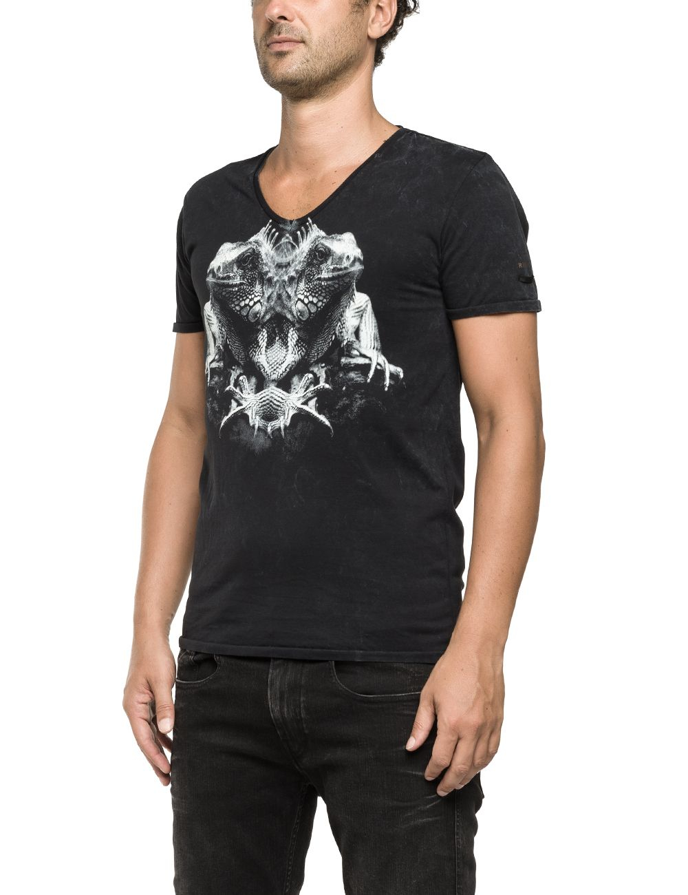 Replay V Neck T Shirt With Photographic Print In Black For