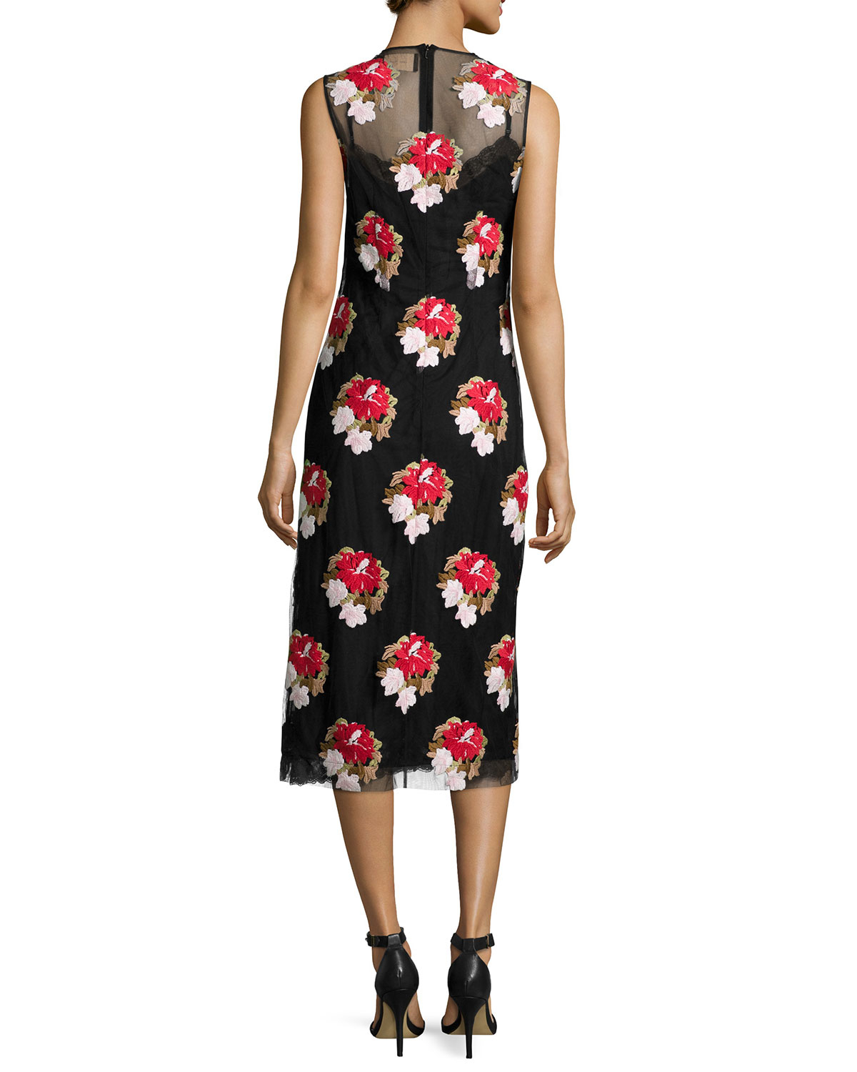 Simone rocha floral embroidered sleeveless pencil dress lyst