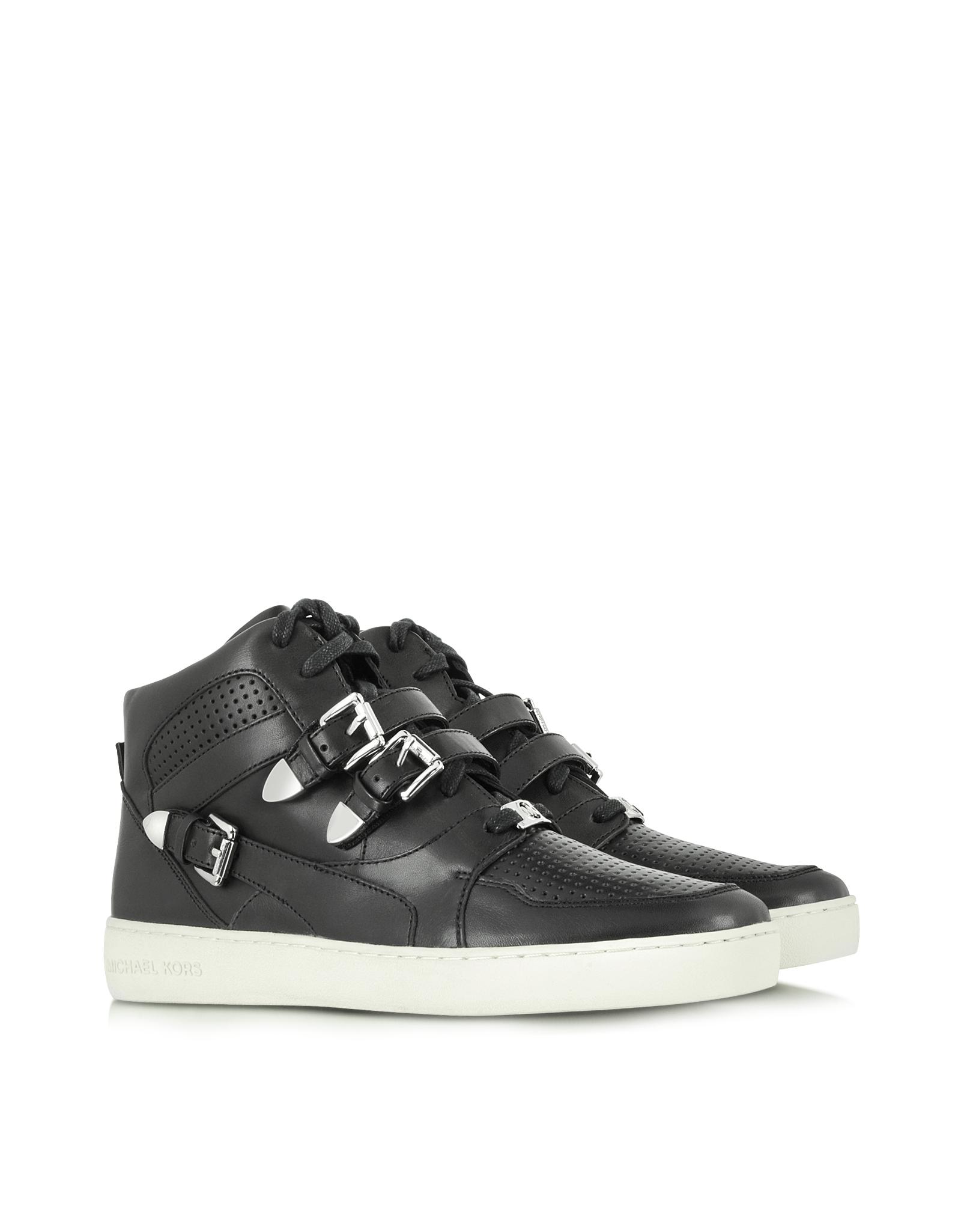 michael kors robin high top leather sneaker in black lyst. Black Bedroom Furniture Sets. Home Design Ideas