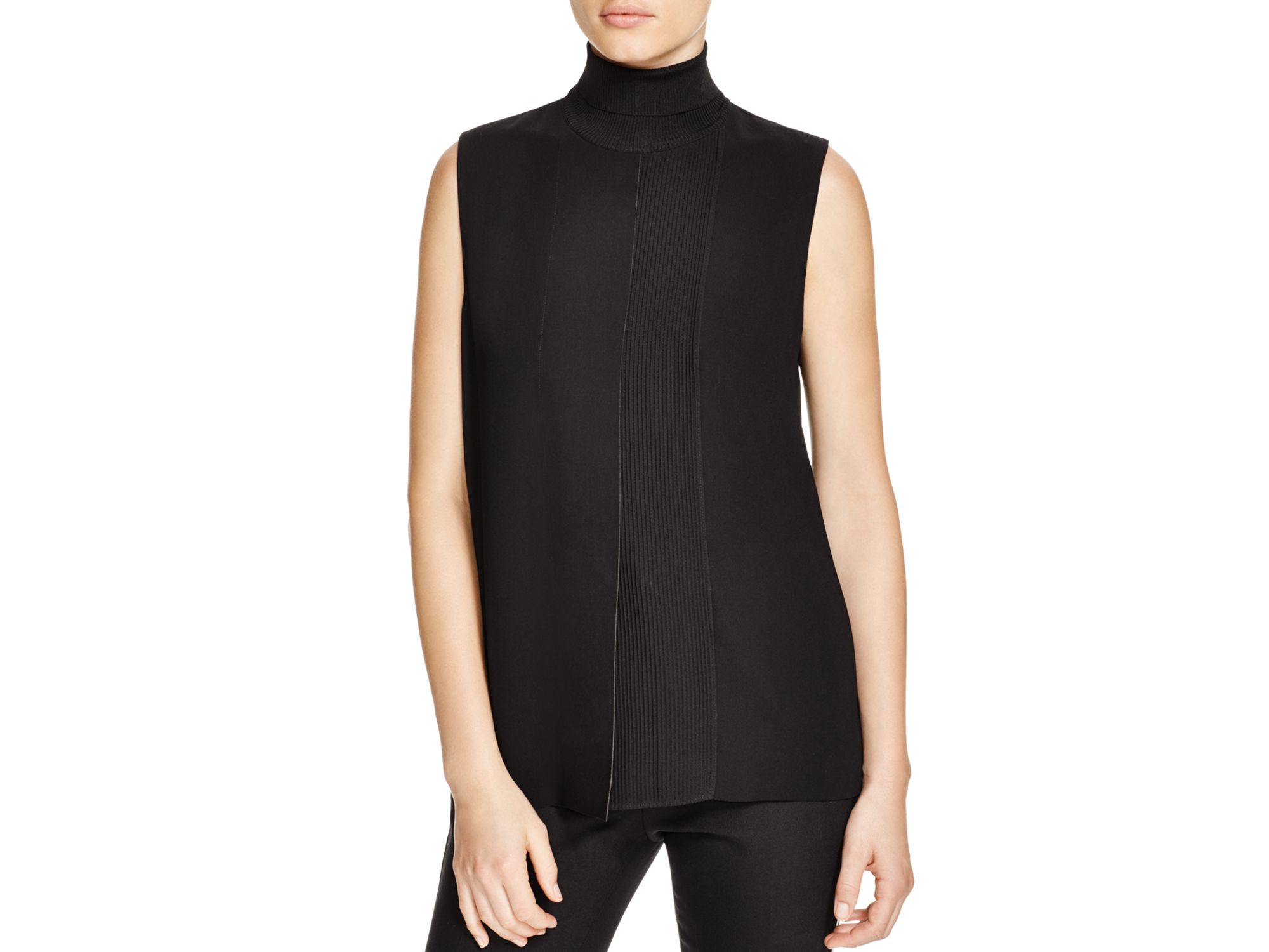 Lyst Vince Rib Panel Sleeveless Turtleneck Top In Black