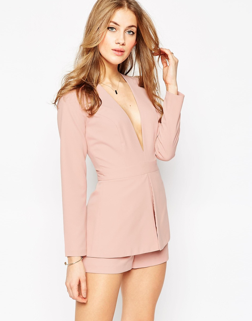 2ff49a38e9f Lyst - ASOS Plunge Playsuit With Peplum Detail - Pink in Pink