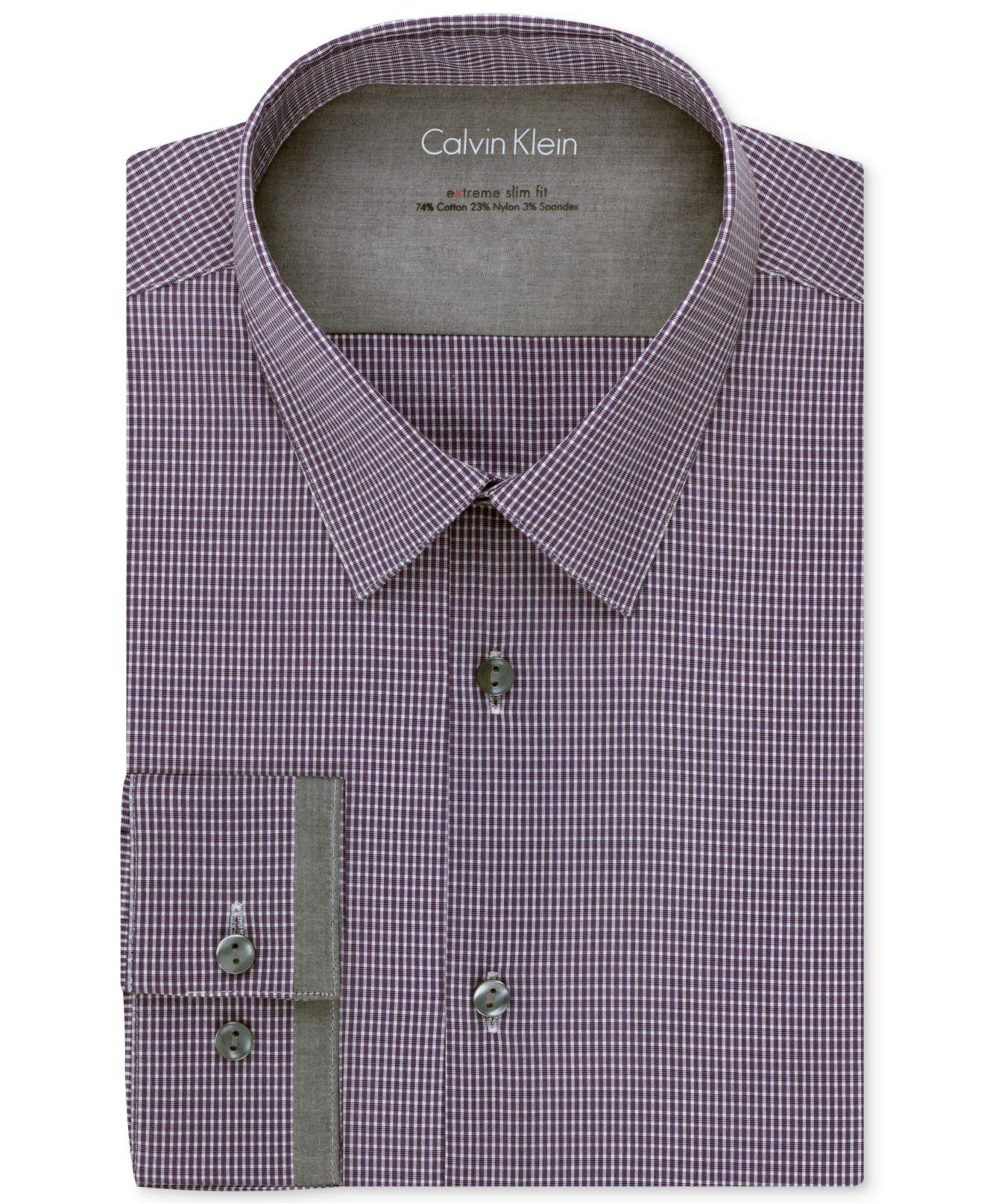 Calvin klein x extra slim fit stretch check dress shirt in for Extra slim dress shirt