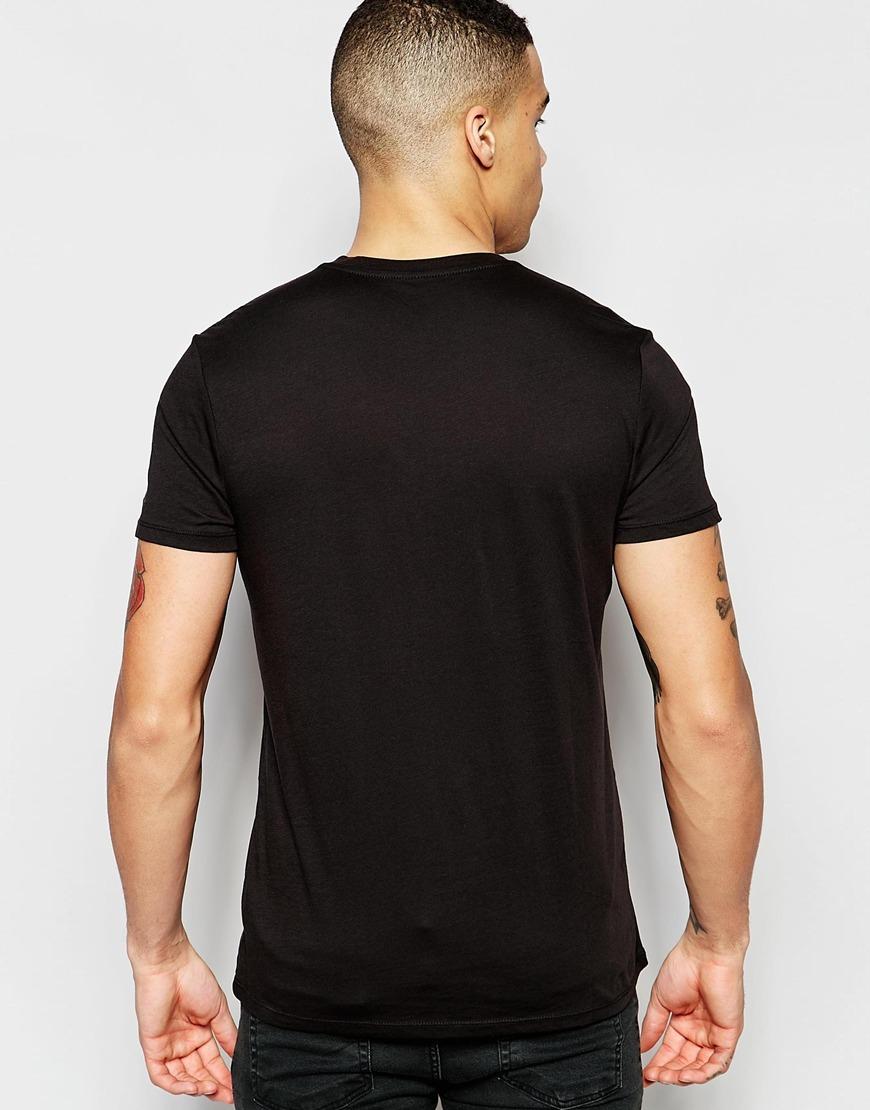 g star raw base t shirt v neck in black in black for men solidblack lyst. Black Bedroom Furniture Sets. Home Design Ideas