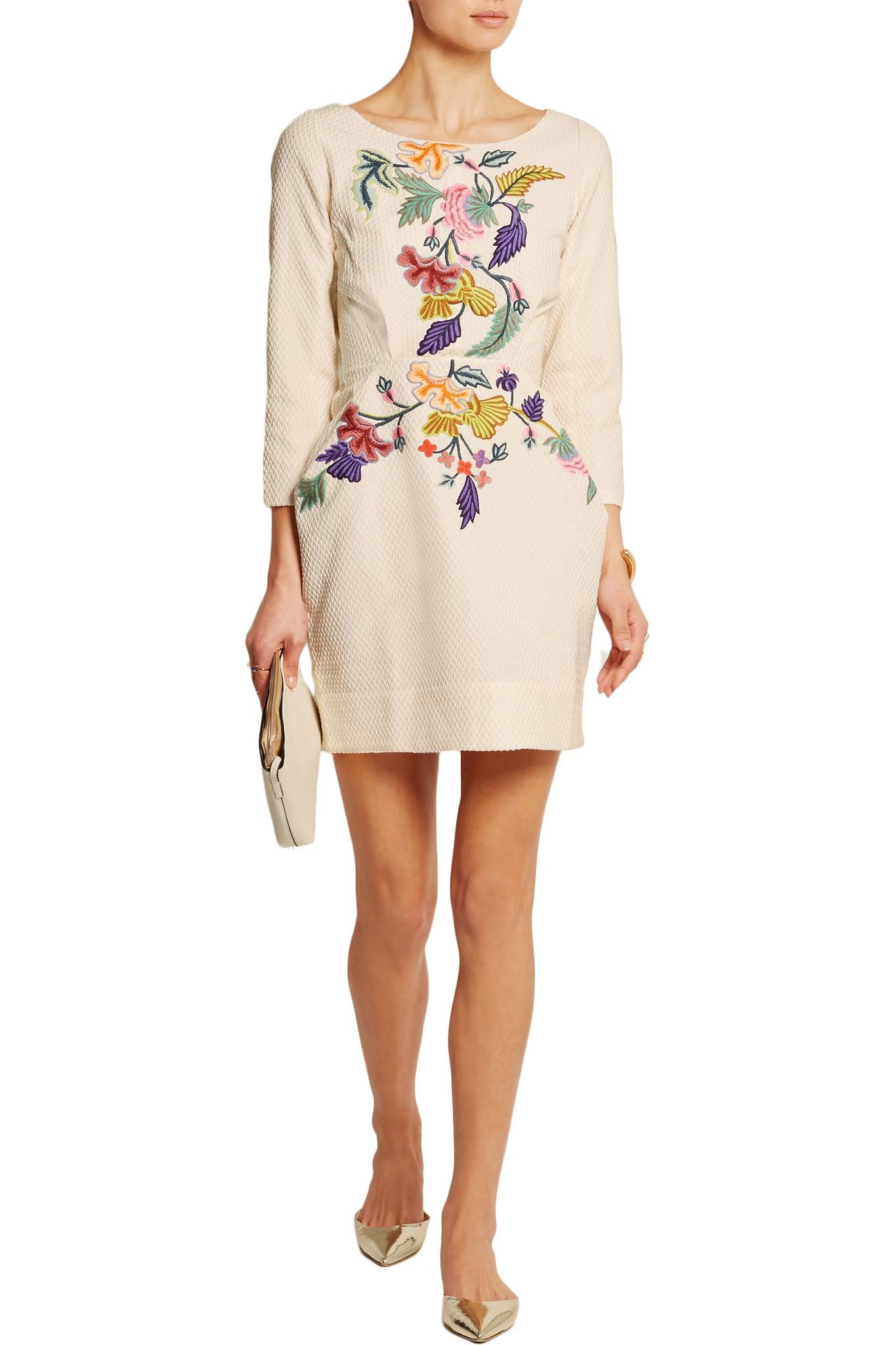 Vineet bahl floral embroidered matelassé mini dress in
