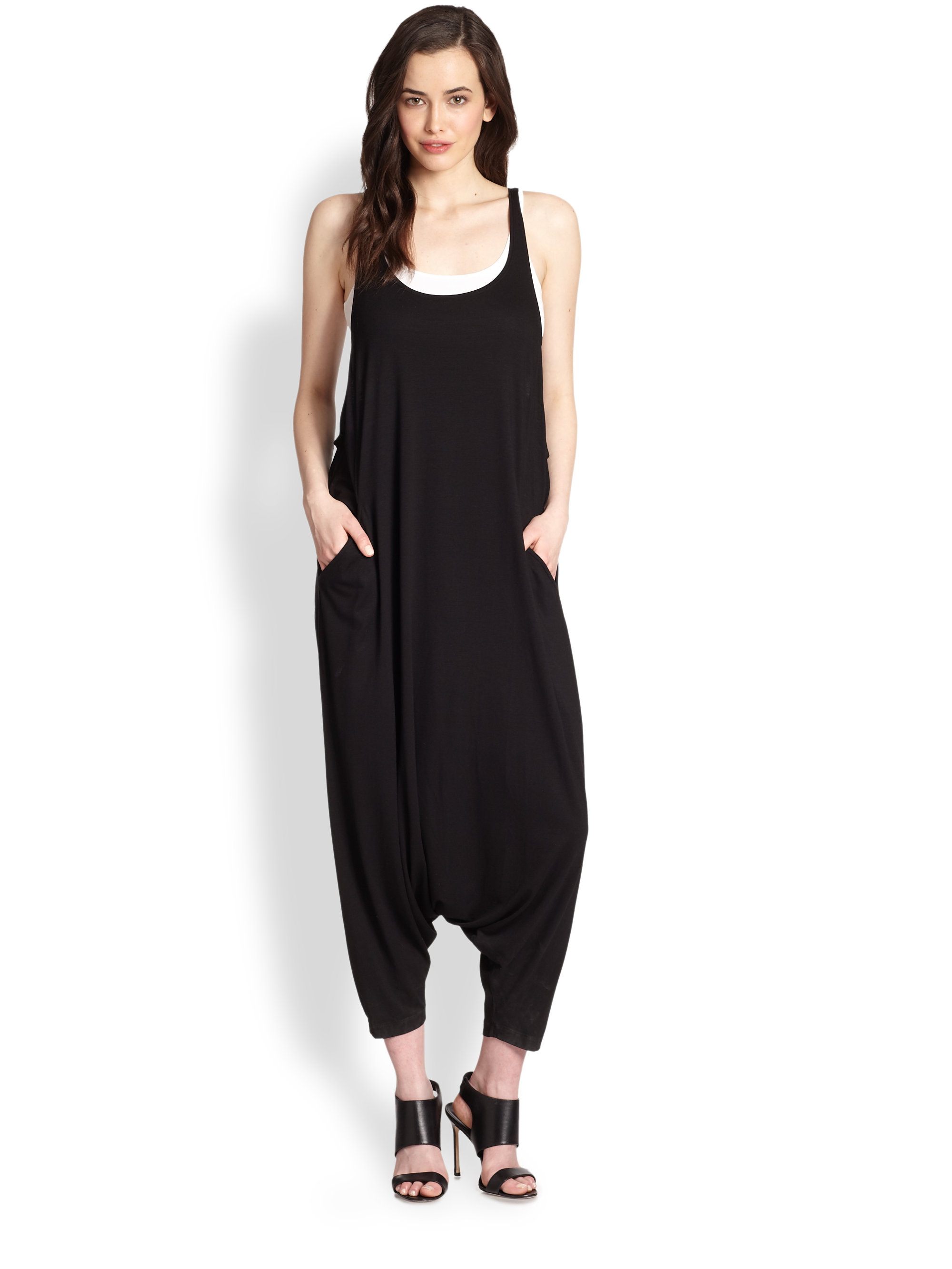 2ca4d43690 Lyst - Eileen Fisher Scoopneck Harem Jumpsuit in Black