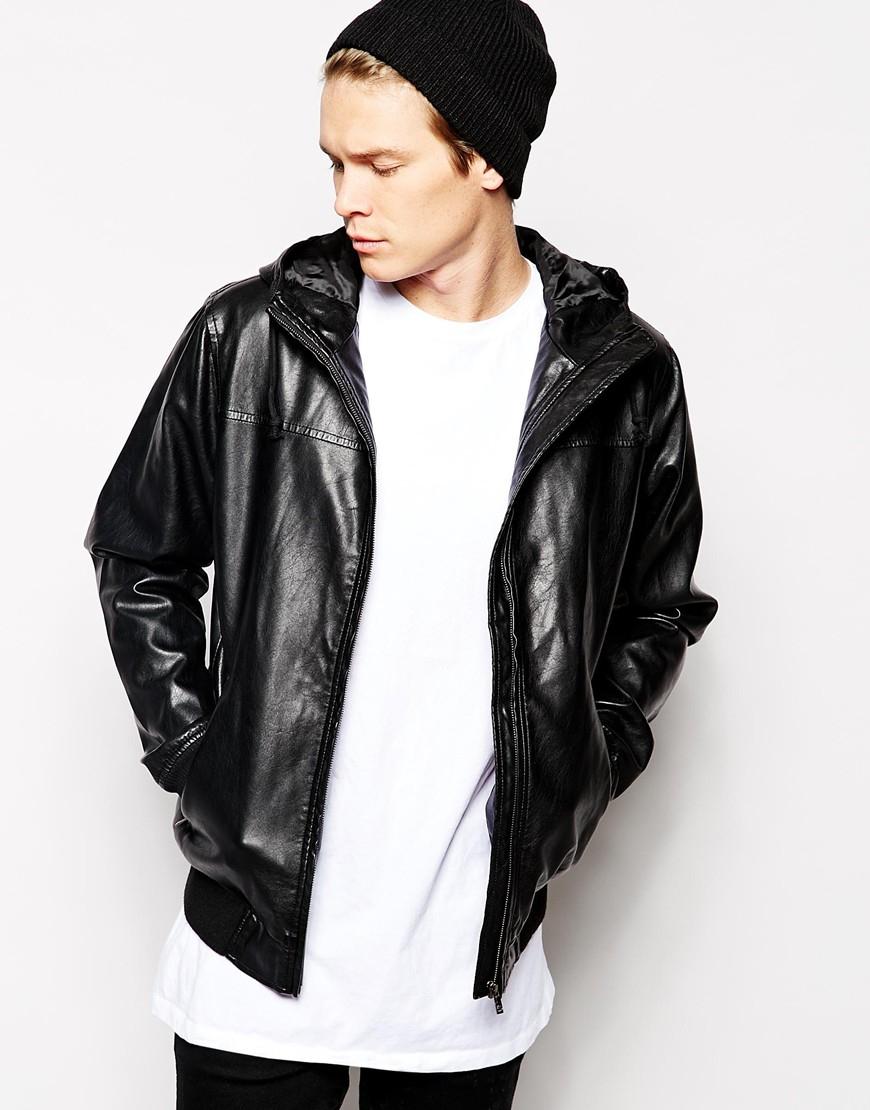 ddf5afcaed5 Solid Black Solid Faux Leather Hooded Jacket for men