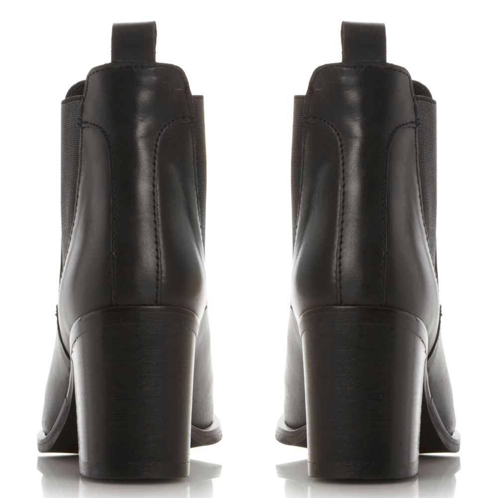Steve Madden Piero Block Heeled Ankle Boots in Black Leather (Black)