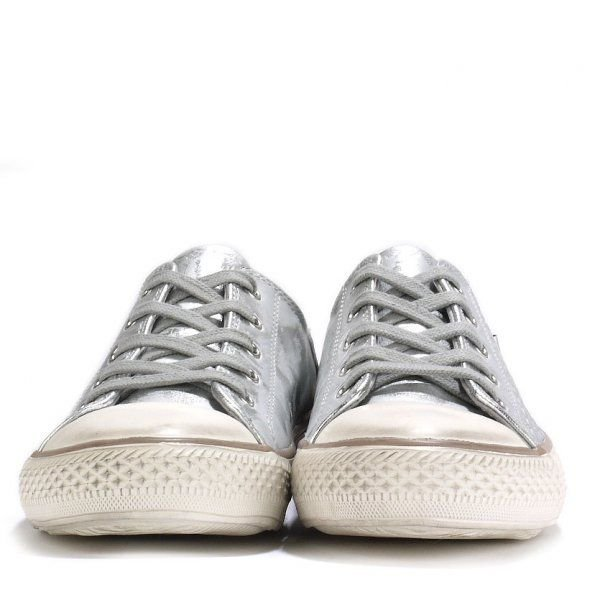 Ash Virgo Classic Leather Lace Up Trainers in Silver (Metallic)