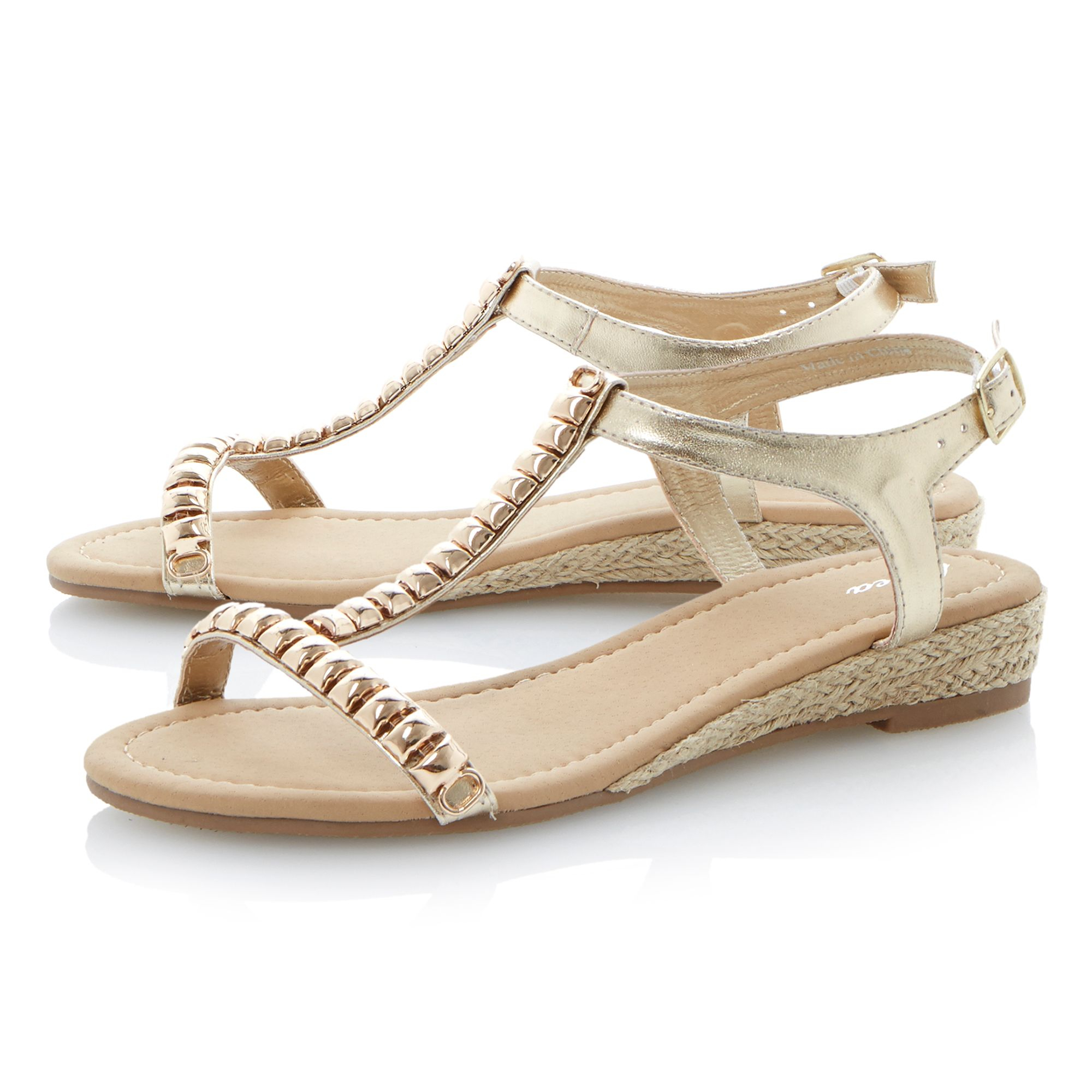 linea gooseberry metal trim detail wedge sandals in gold