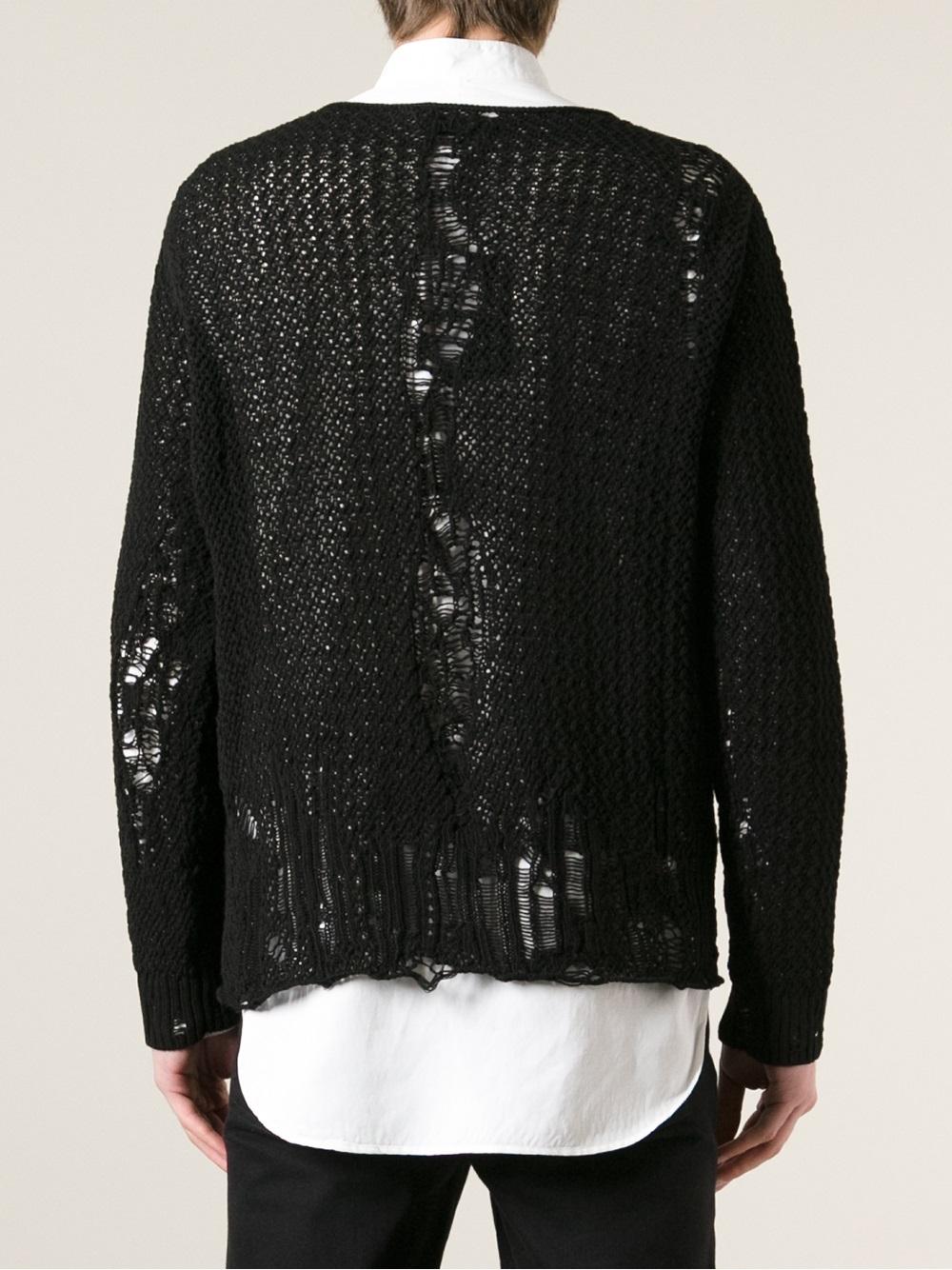 Alexander Mcqueen Distressed Sweater In Black For Men Lyst