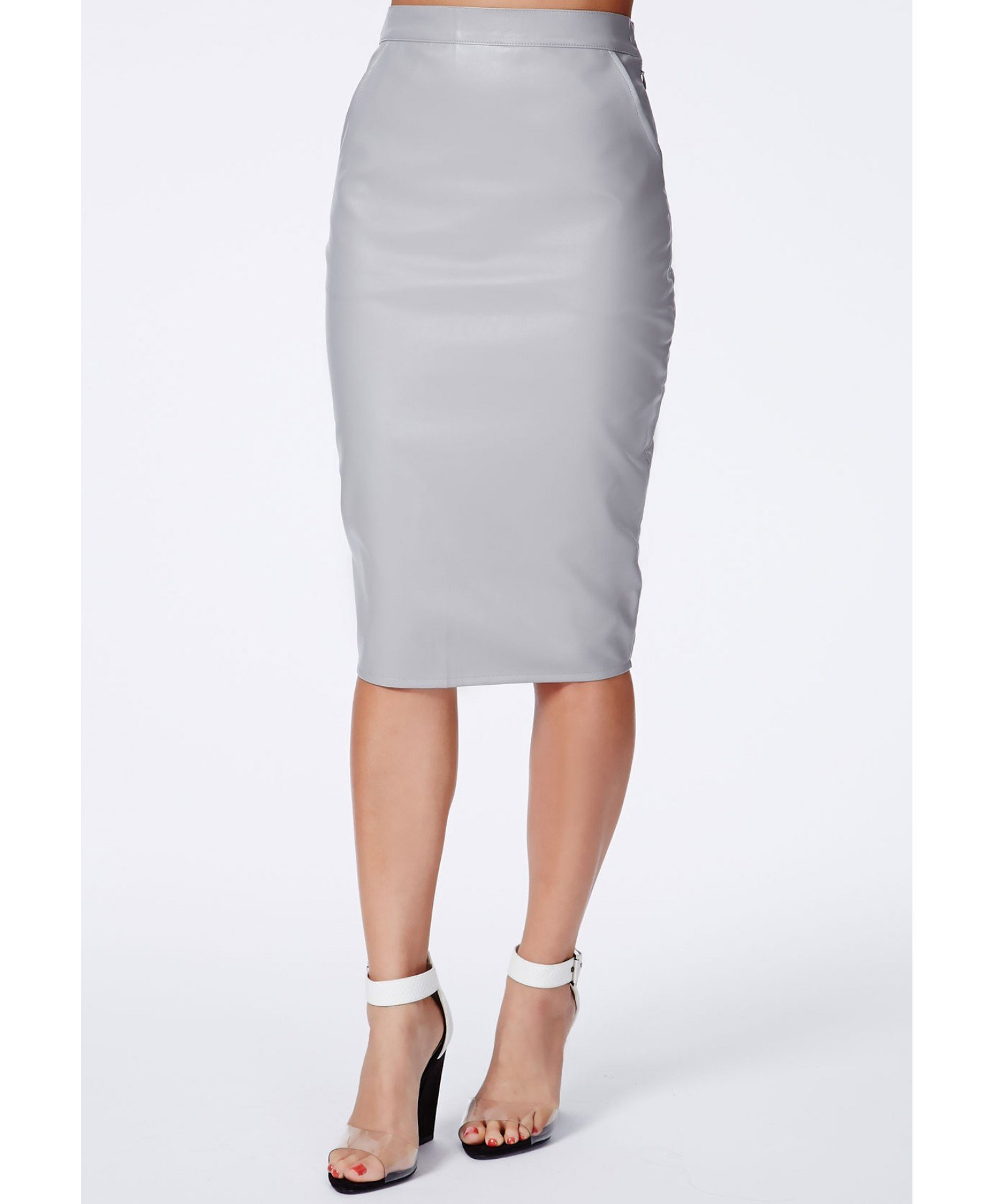 Oasis Clean High Waisted Leather Look Pencil Skirt in