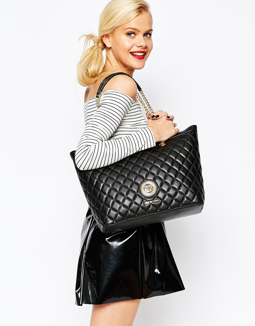 Quilted Tote Bag In Black