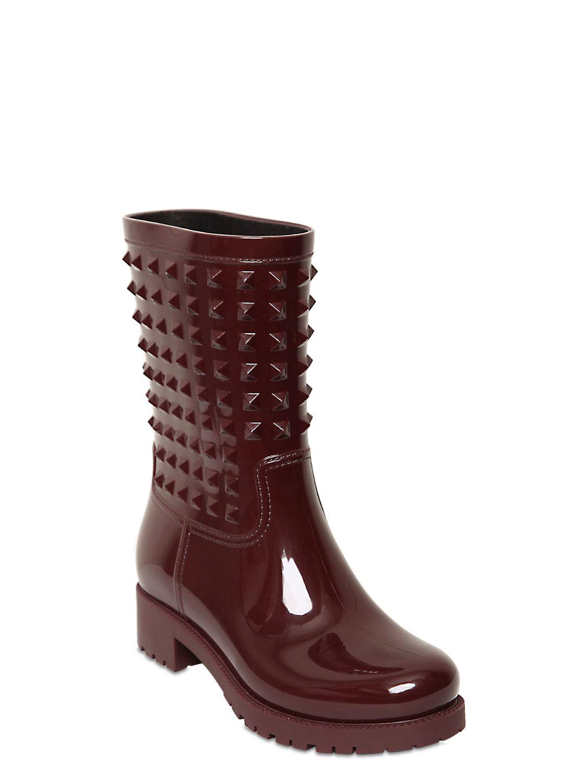 Valentino 50mm Rubber Studded Rain Boots In Purple