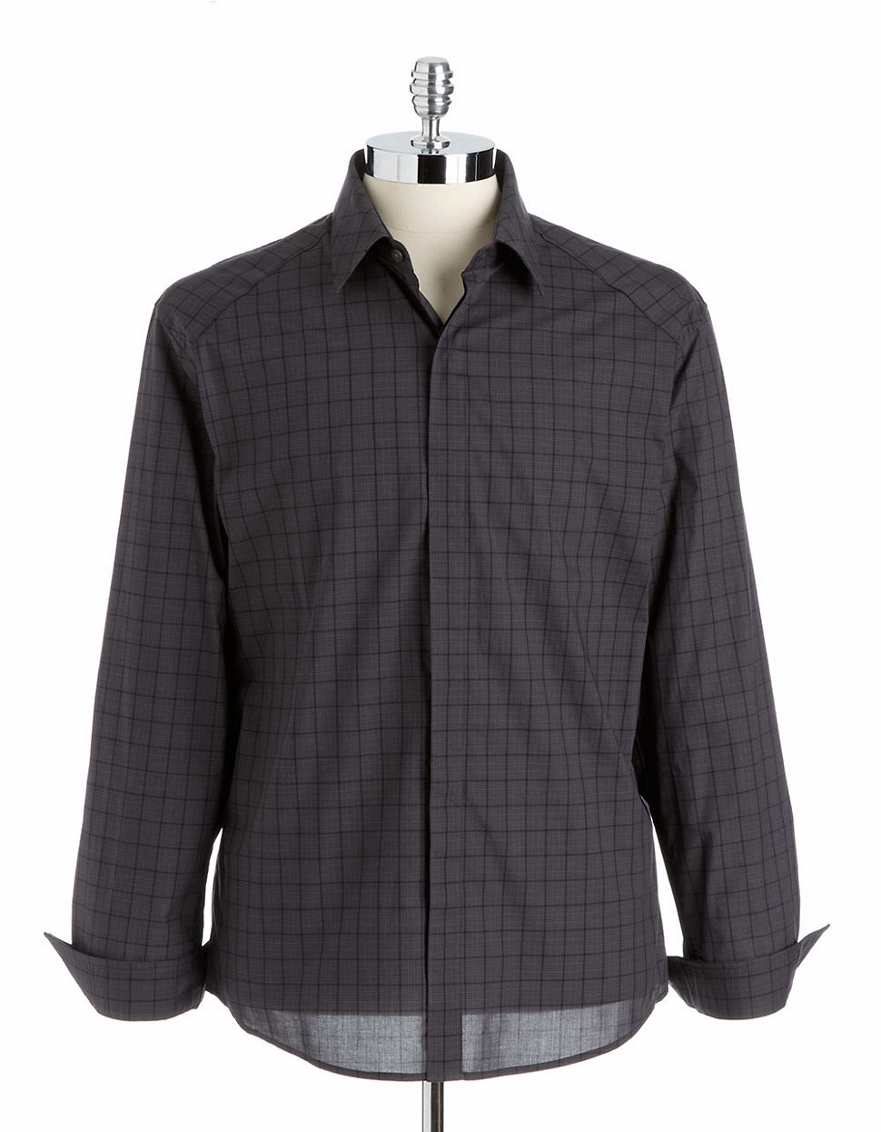 Vince camuto button down dress shirt in gray for men grey for Mens grey button down dress shirt