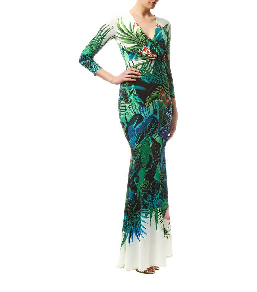 Roberto cavalli Tropical Print Maxi Dress in Green | Lyst