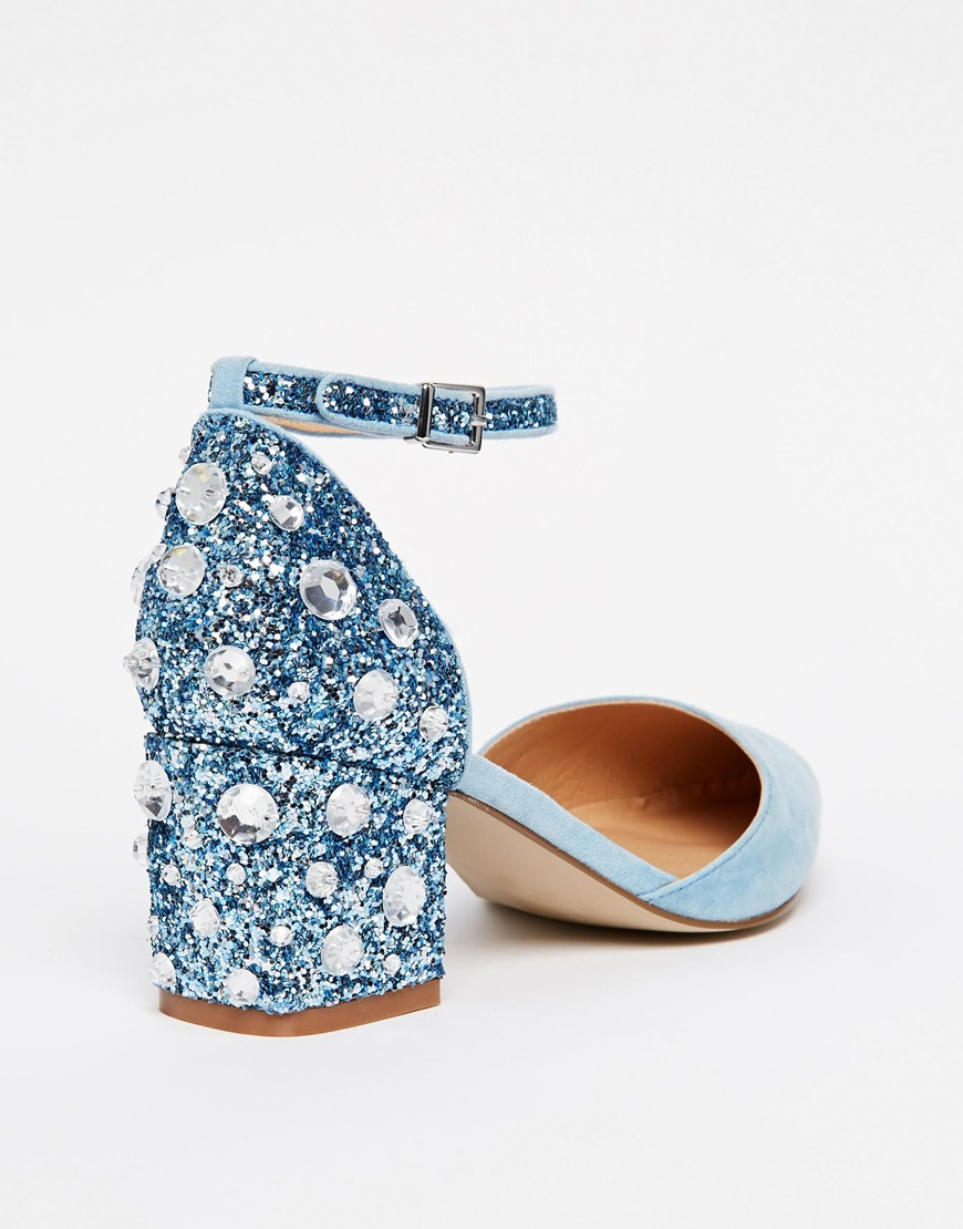 32cf992c7c93 ASOS Shooting Star Pointed Heels in Blue - Lyst