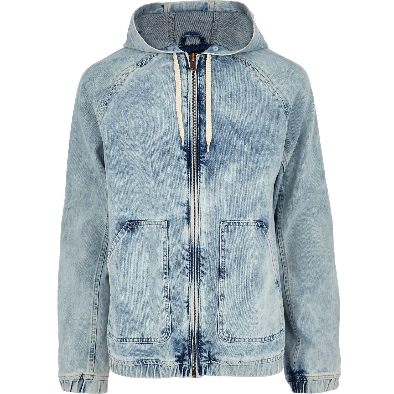 6963d89991d9 River Island Light Acid Wash Hooded Denim Jacket in Blue for Men - Lyst