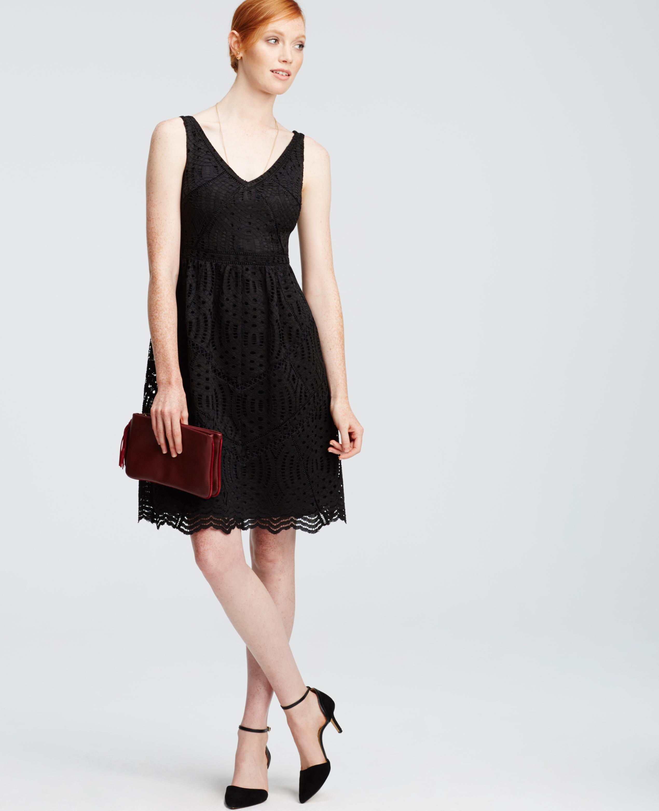 Lyst - Ann Taylor Petite Lace Flare Dress in Black