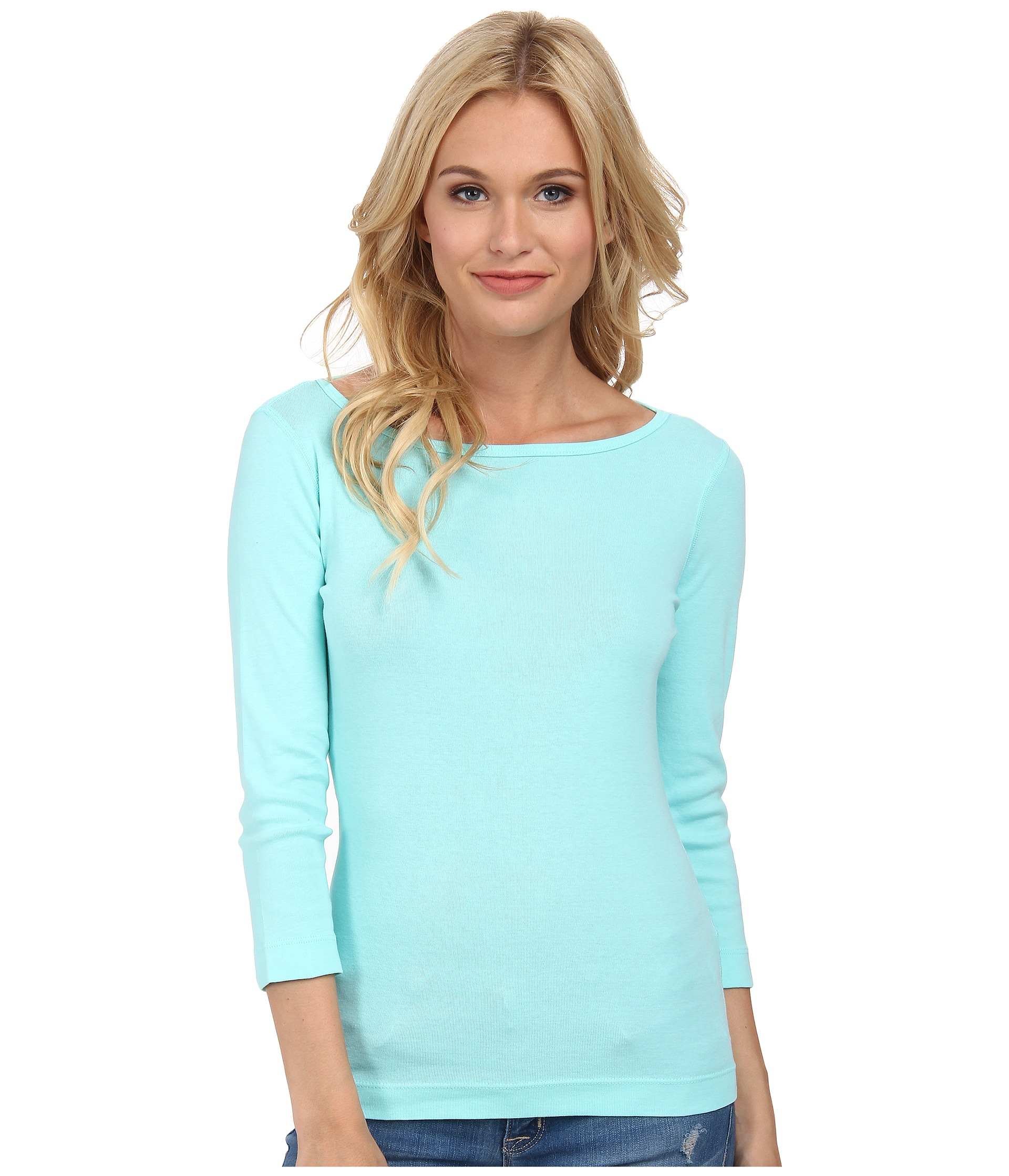 three dots aqua mint 34 sleeve british tee blue product 3 837808310 normal three dots 3 4 sleeve british tee in blue lyst,3 Dots Womens Clothing