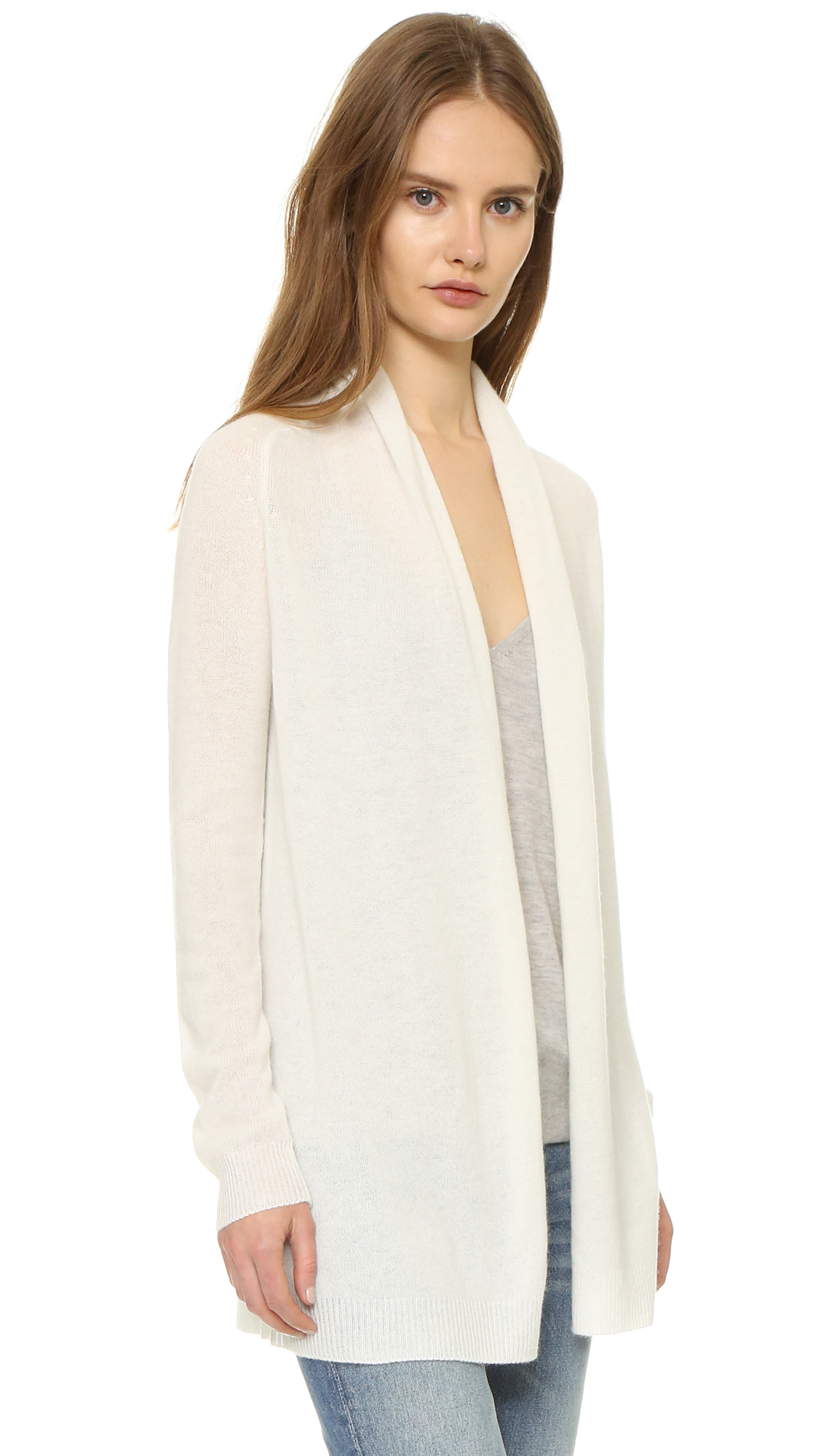 Theory Feather Ashtry Cashmere Cardigan in Natural | Lyst