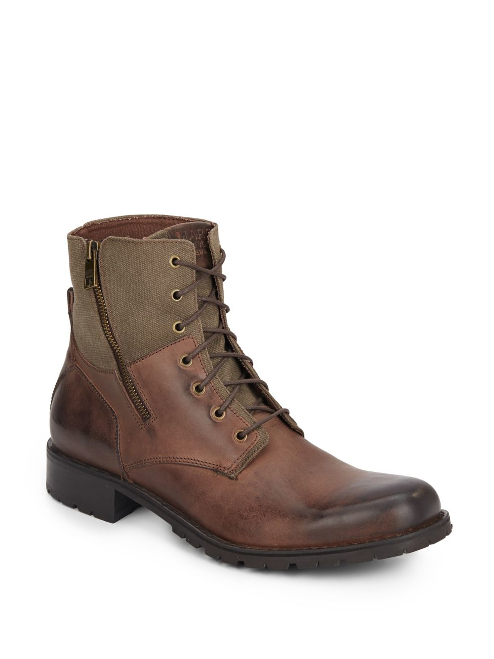 d08462a22367 Lyst Marc New York Vesey Leather Canvas Boots In Brown