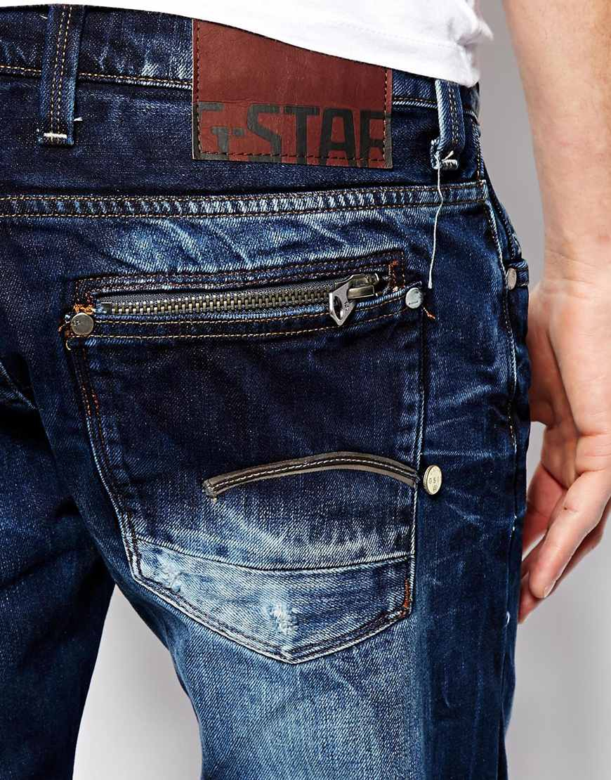 g star raw g star jeans attacc low straight wisk denim in. Black Bedroom Furniture Sets. Home Design Ideas
