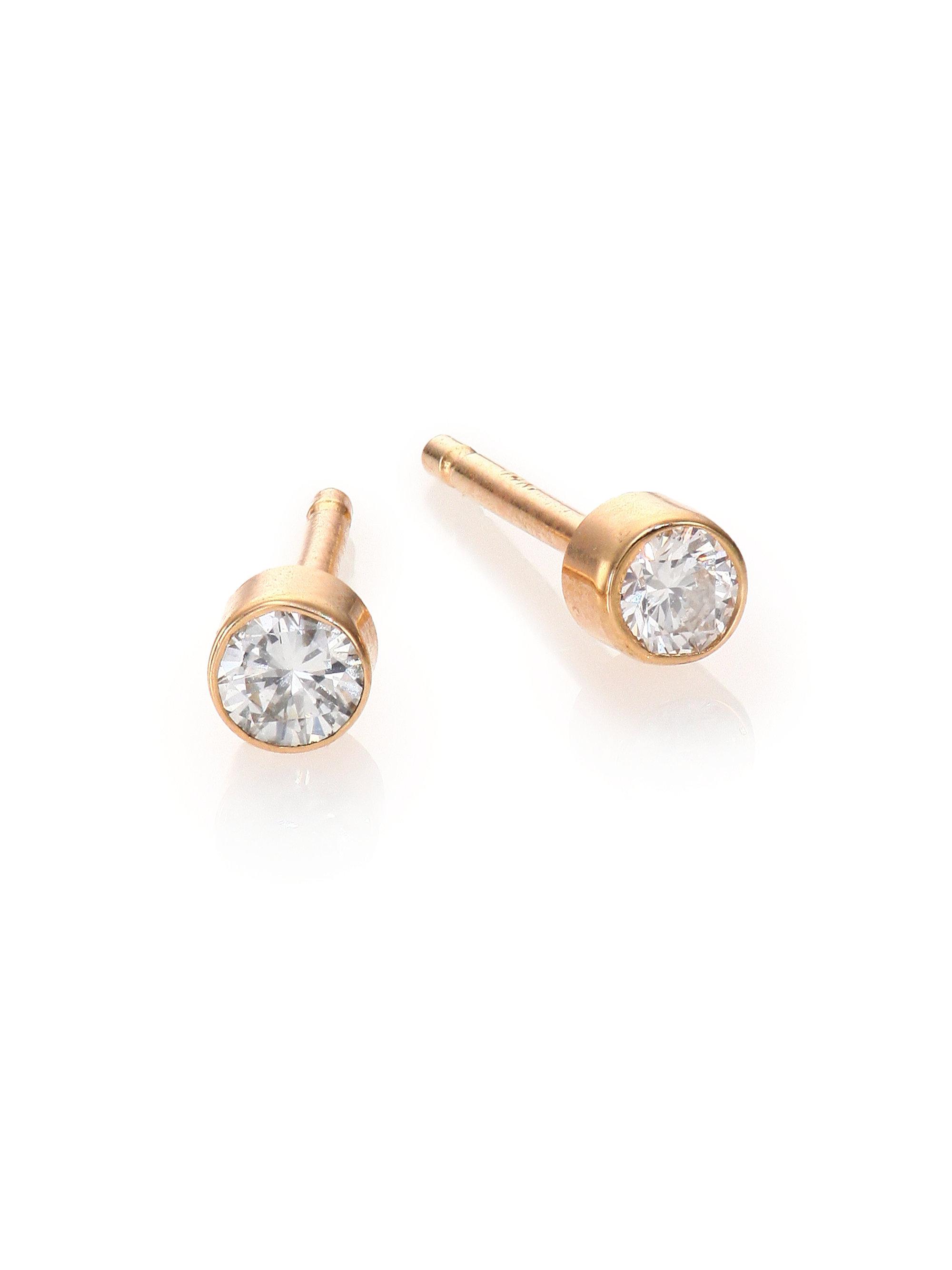 Zoe chicco Diamond & 14k Yellow Gold Bezel Stud Earrings ...